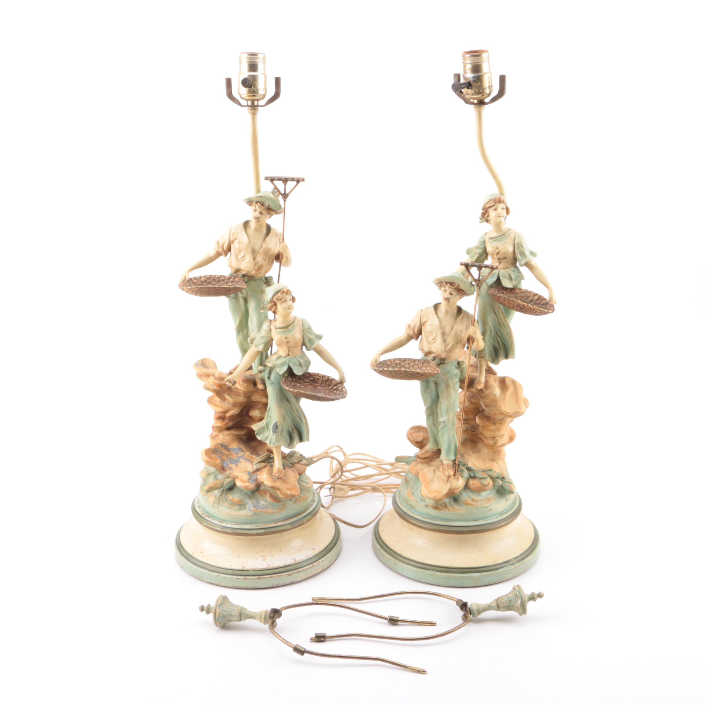 Vintage Figural Peasantry Tableau Spelter Table Lamps after L&F Moreau