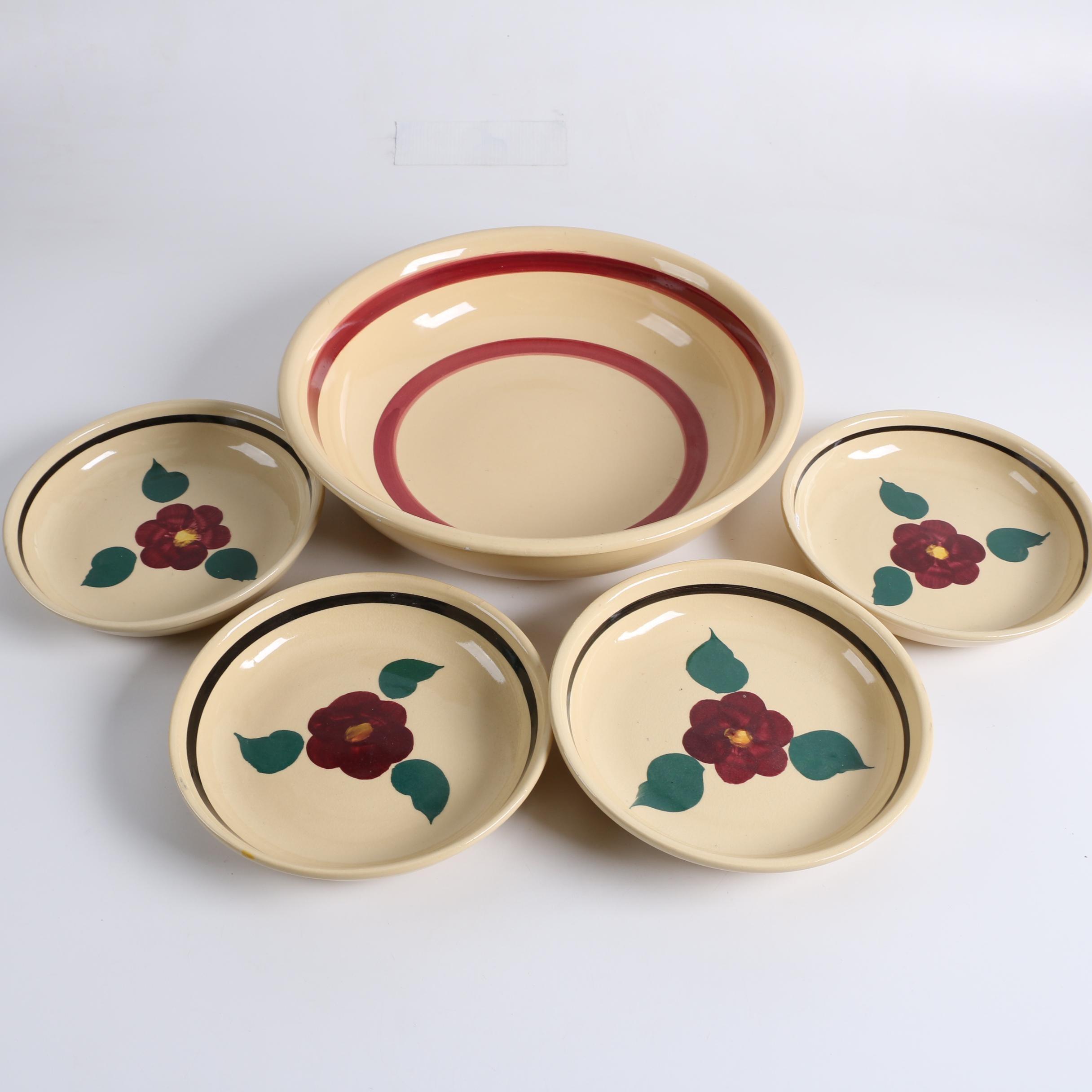 "Vintage Watt Pottery ""Rio Rose"" Serving Bowl and Salad Bowls"