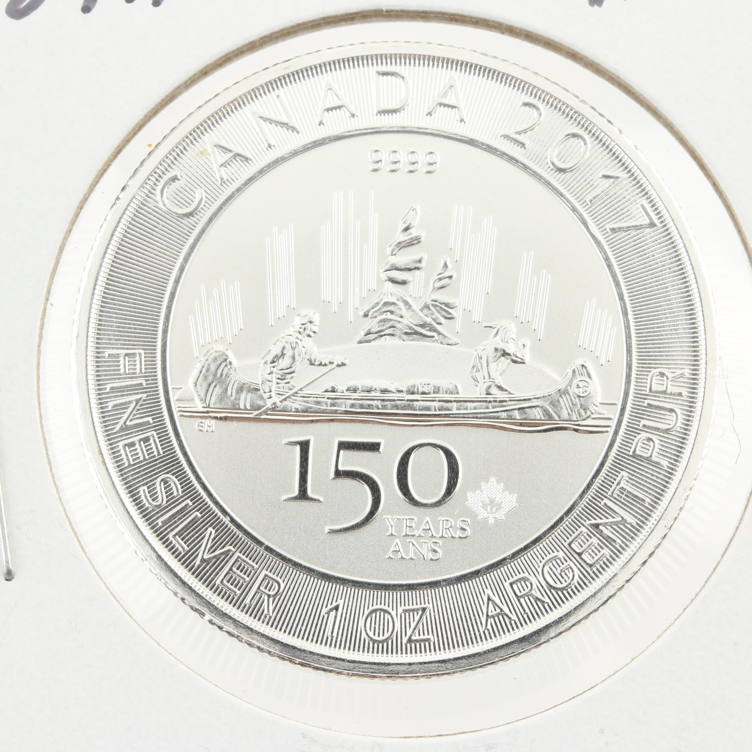 2017 $5 Canadian 1 Oz. 150th Anniversary Voyageur Reverse Proof Silver Coin