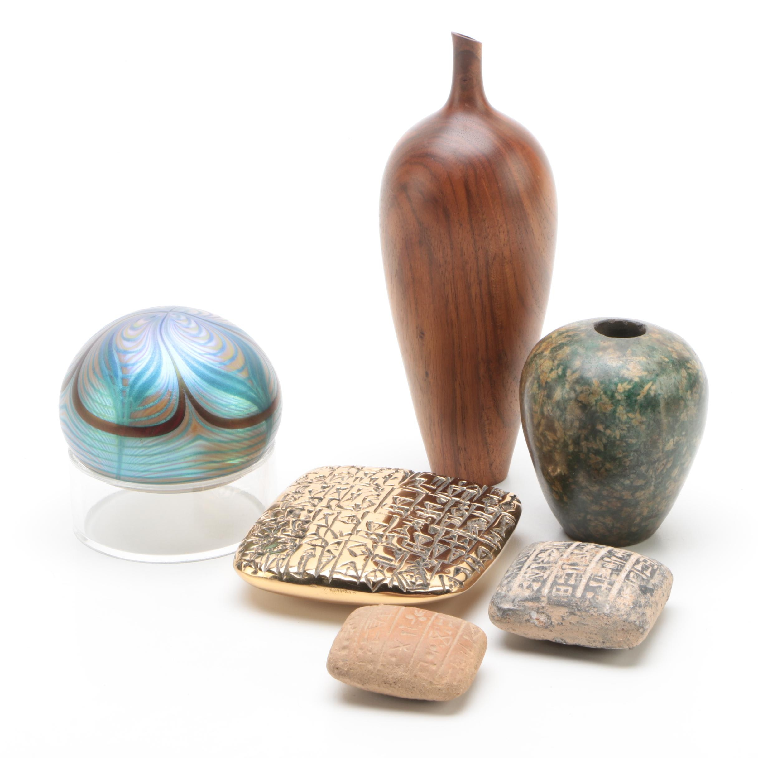 Paperweights, Walnut Vase, and Stone Décor including Orient & Flume
