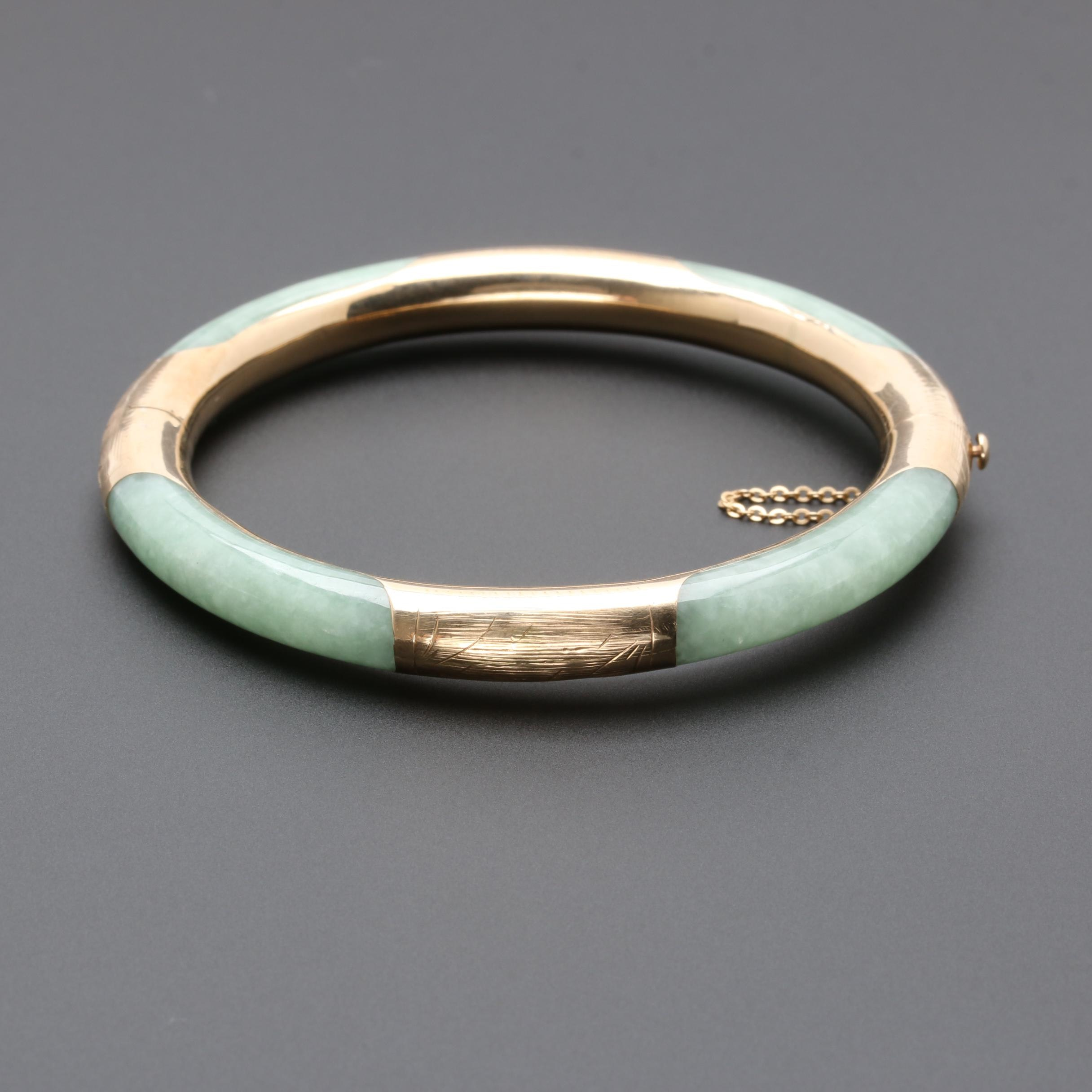 14K and 10K Yellow Gold Jadeite Bangle Bracelet
