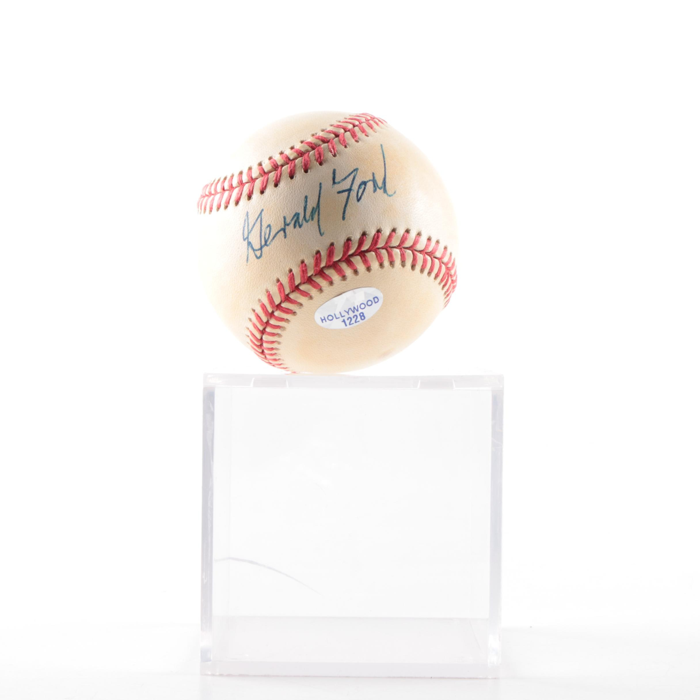 President Gerald Ford Autographed Baseball In Case