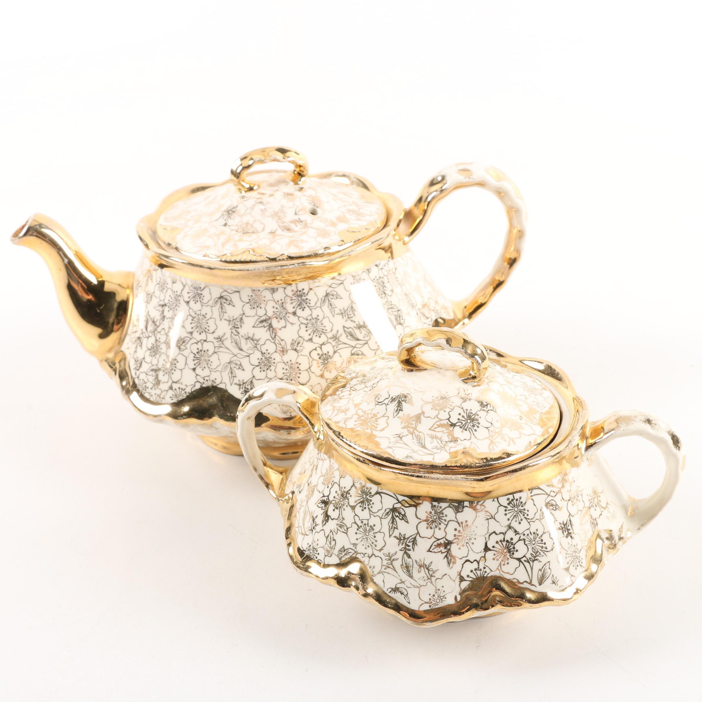 """Vintage Homer Laughlin """"Karolyte"""" Teapot and Sugar Bowl ca. 1947-52"""
