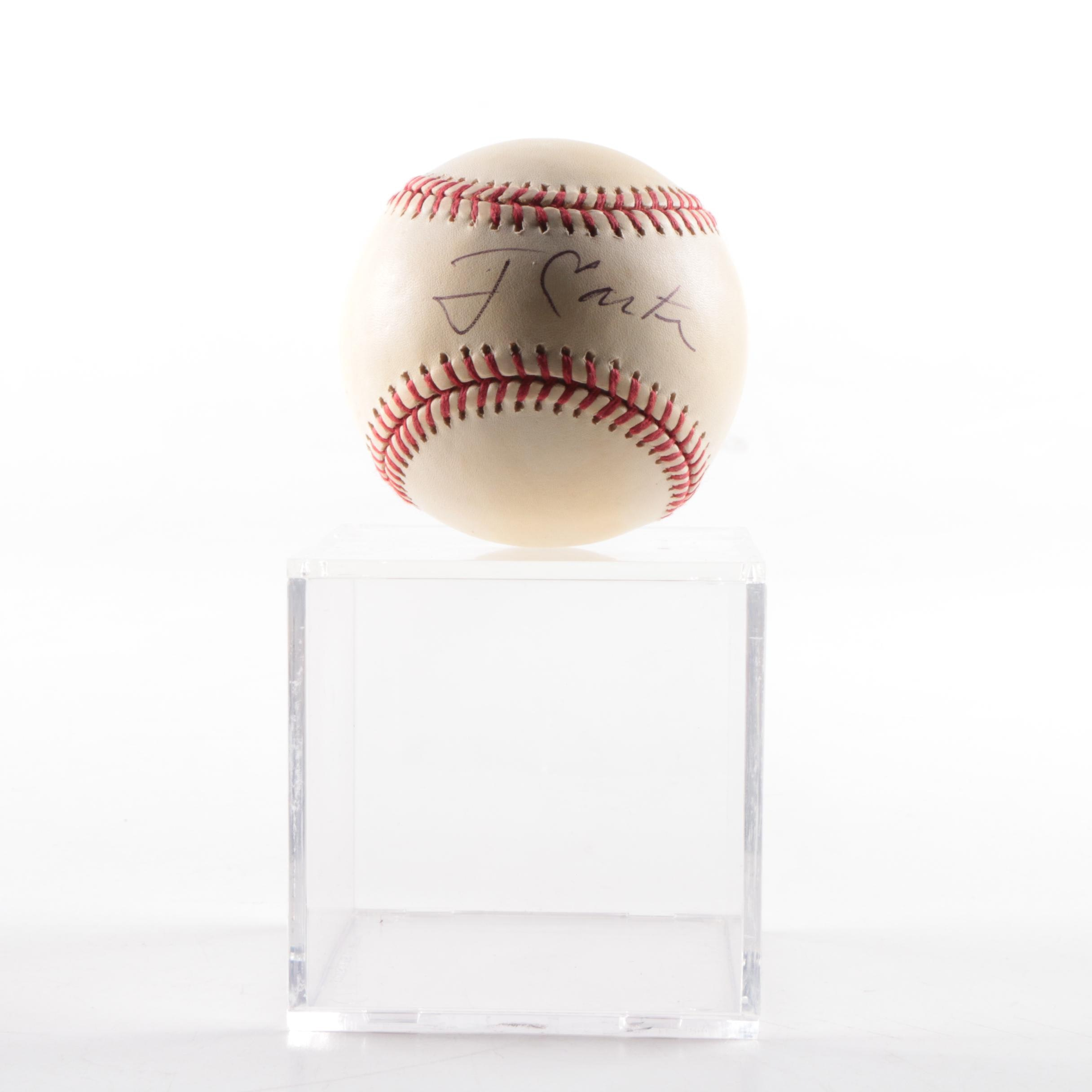 President Jimmy Carter Autographed Baseball In Display Case