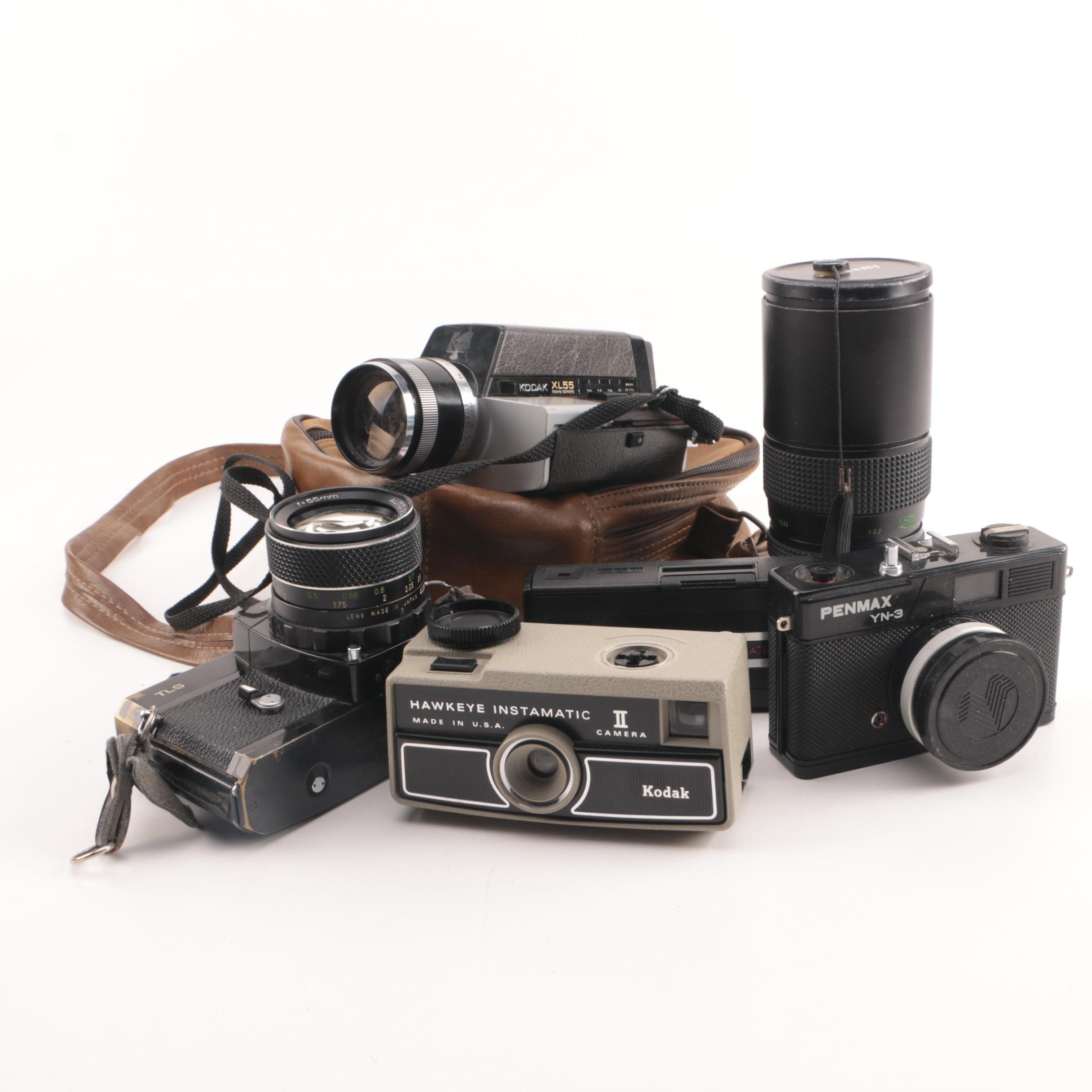 Vintage Kodak, Penmax, and Sears Cameras with Accessories