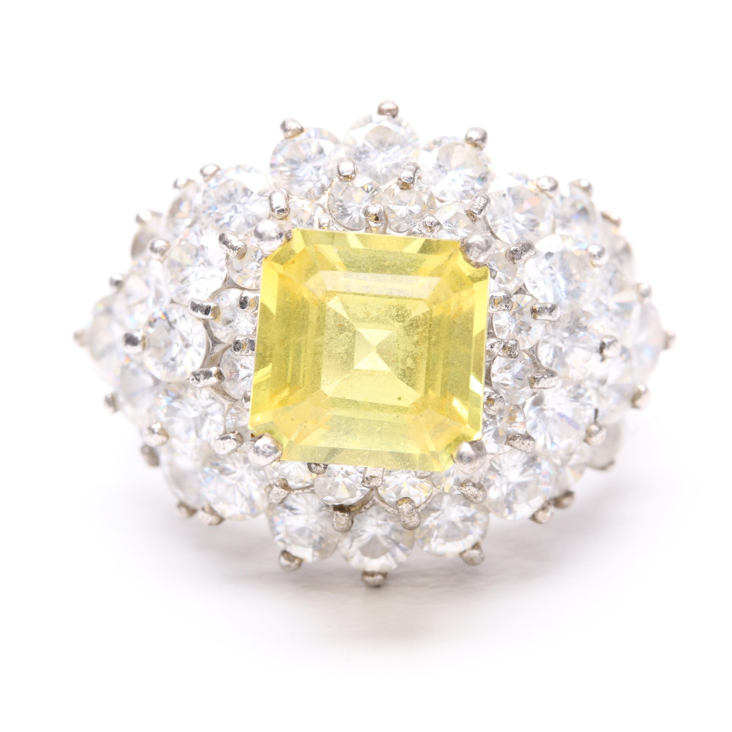 Sterling Silver Synthetic Yellow Sapphire and Cubic Zirconia Ring