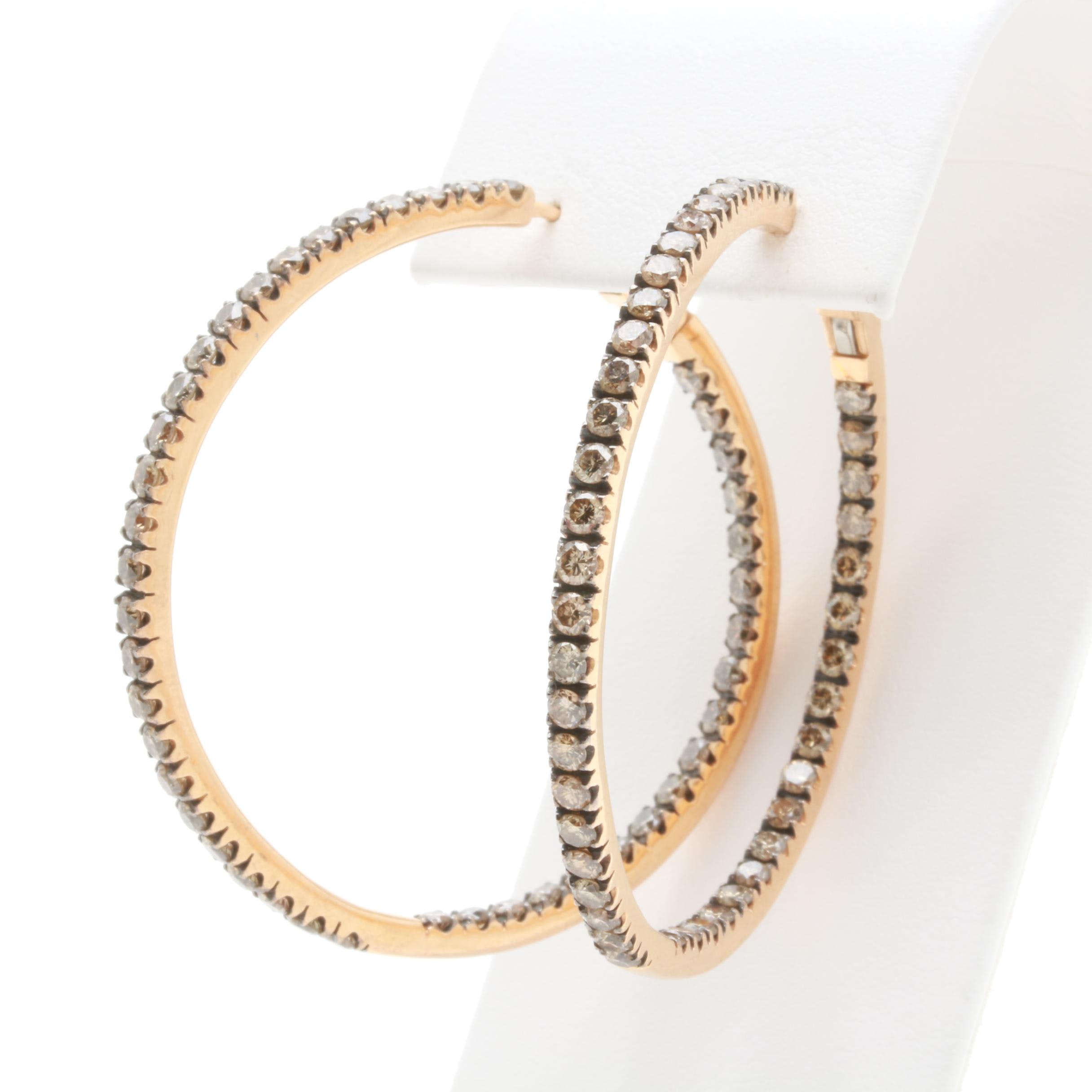 18K Yellow Gold 2.49 CTW Diamond Inside Out Hoop Earrings