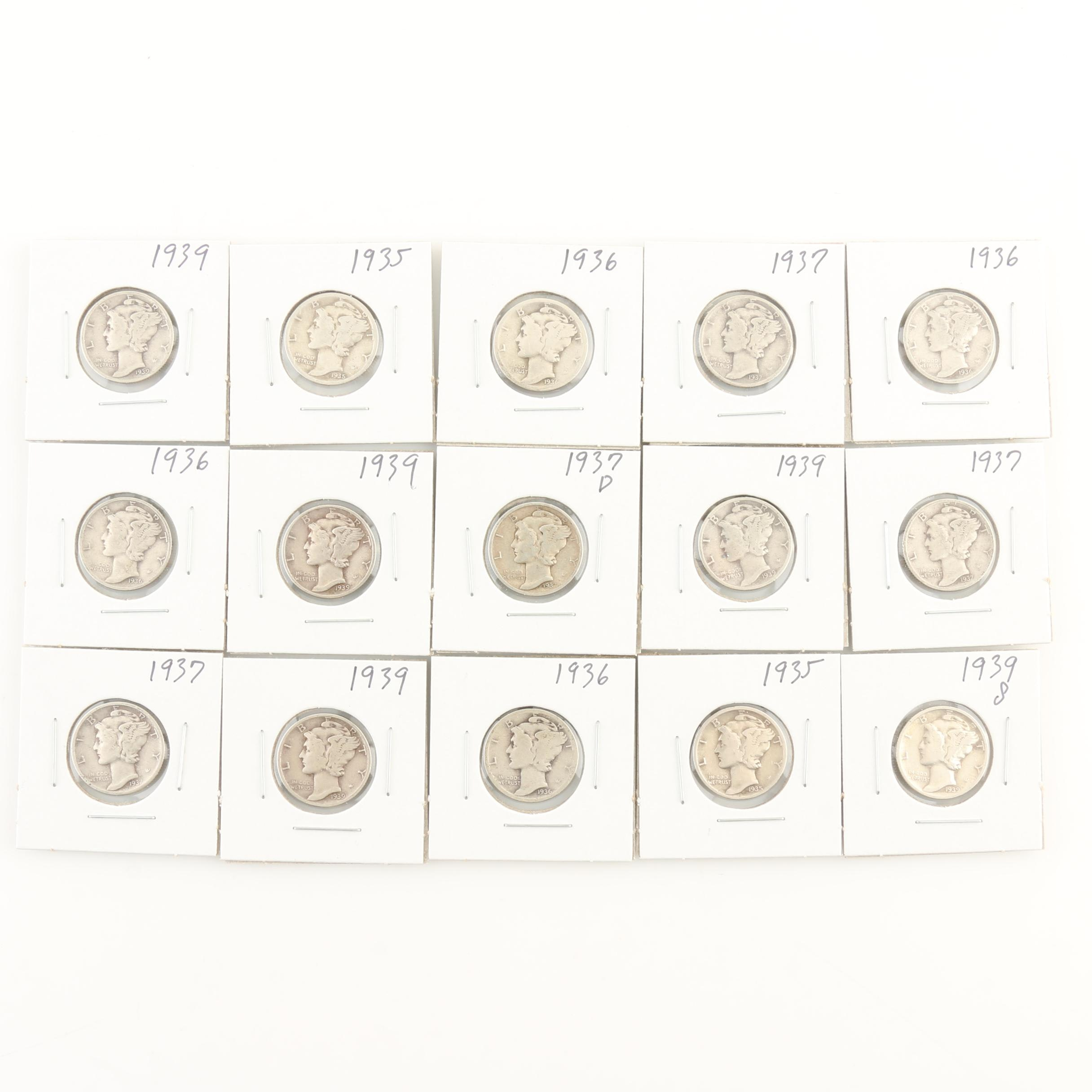 Group of Fifteen Mercury Silver Dimes