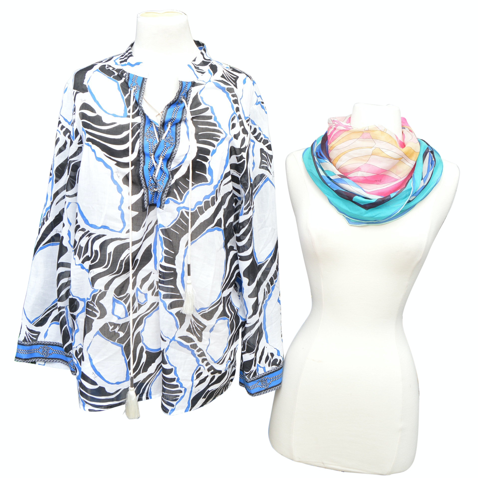 Emilio Pucci Tunic Top and Pucci Scarves