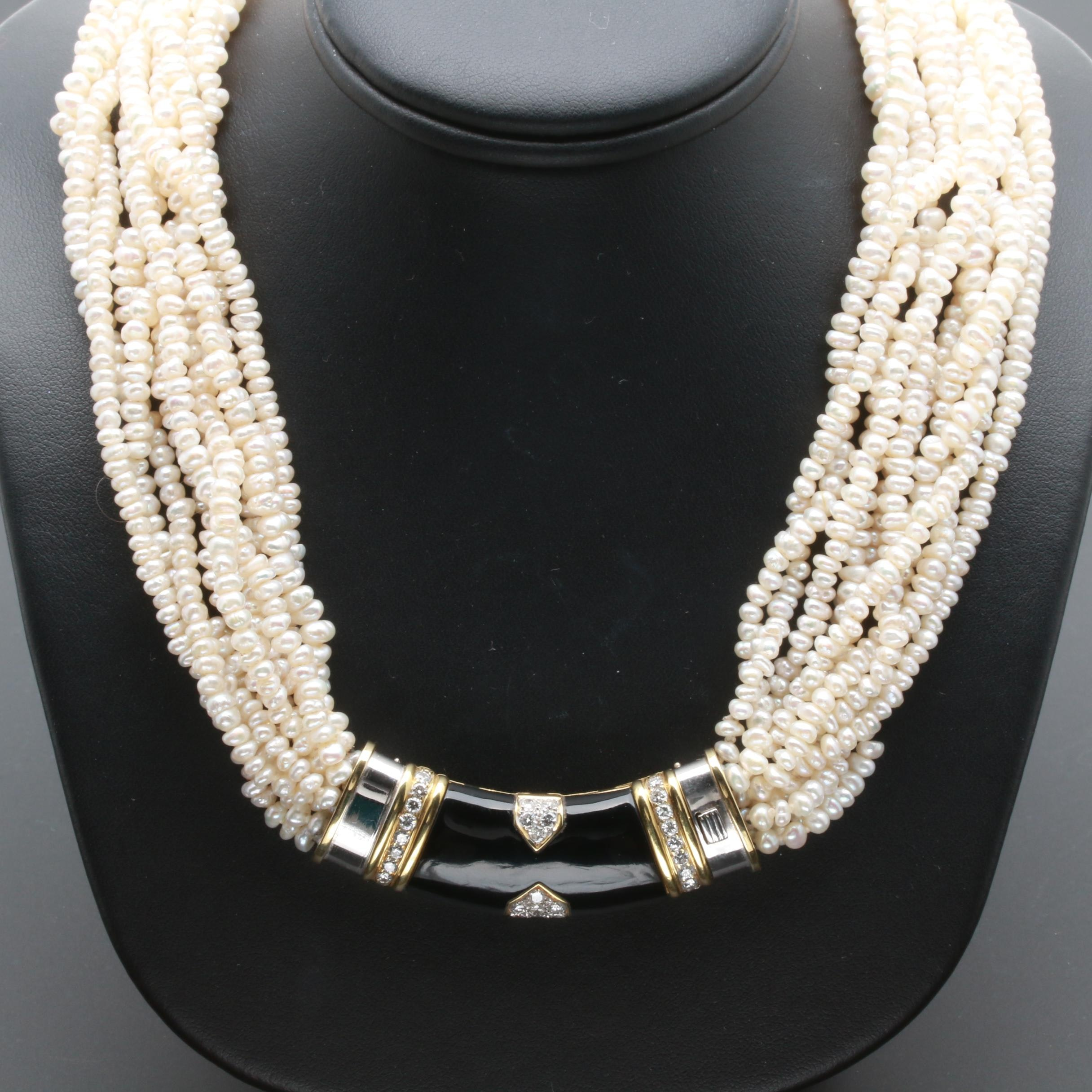 18K and 14K Gold 1.20 CTW Diamond and Cultured Pearl Multi-Strand Necklace