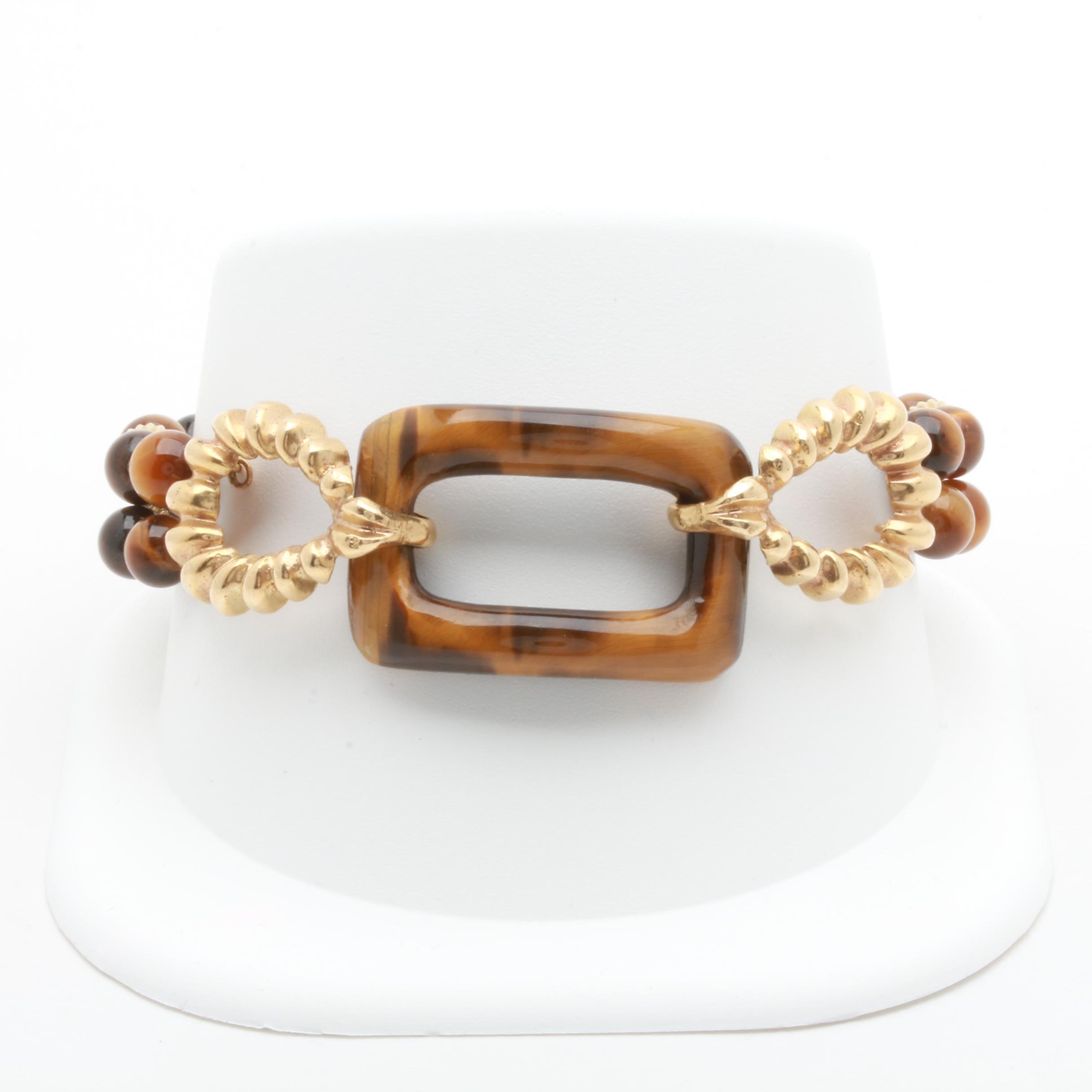 14K Yellow Gold Tiger's Eye Bracelet