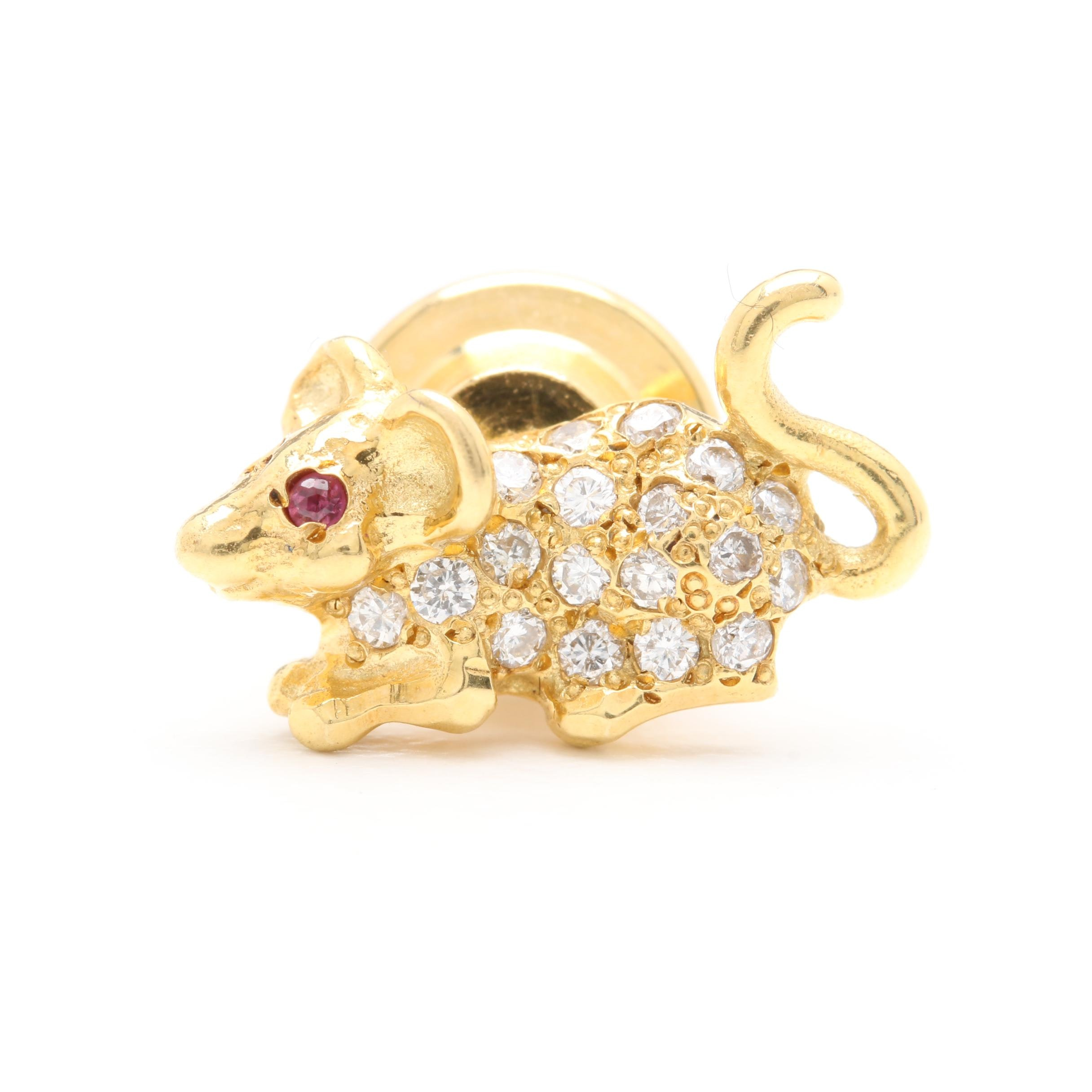 18K Yellow Gold Ruby and Diamond Mouse Lapel Pin