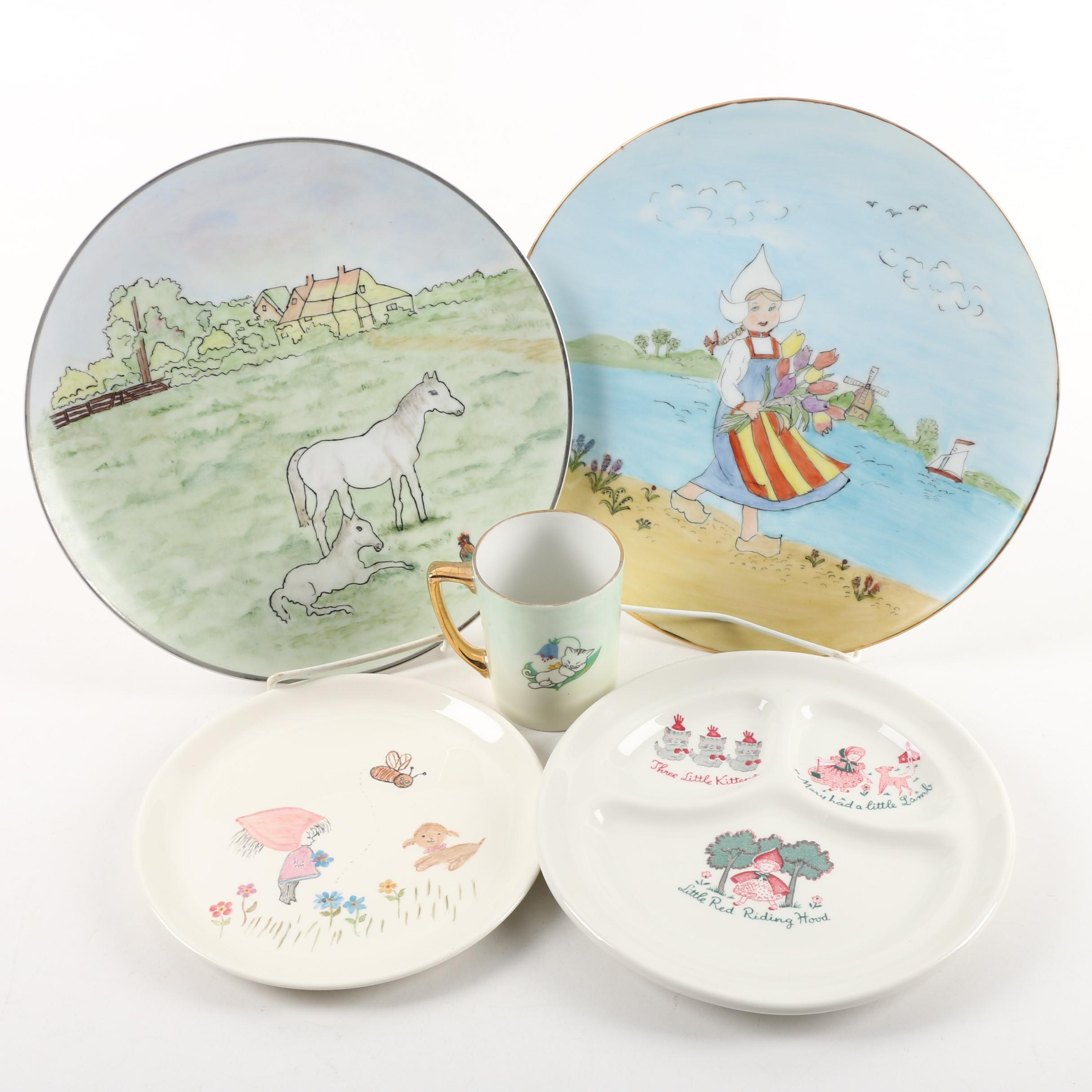 """Vintage Hobbyist Painted Tableware with Walker """"Nursery Rhyme"""" Plate"""