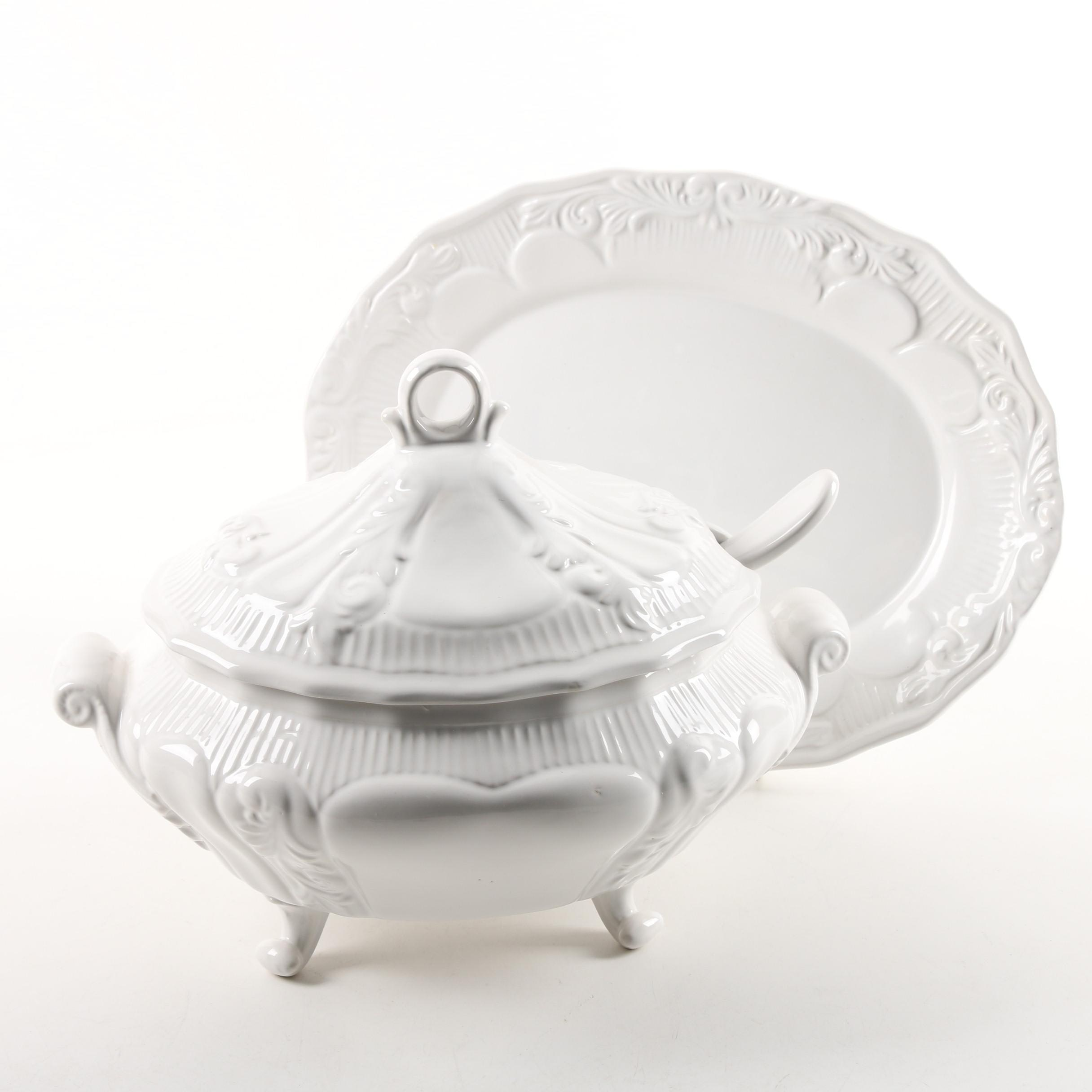 Ceramic Soup Tureen and Platter with Molded Acanthus Leaves