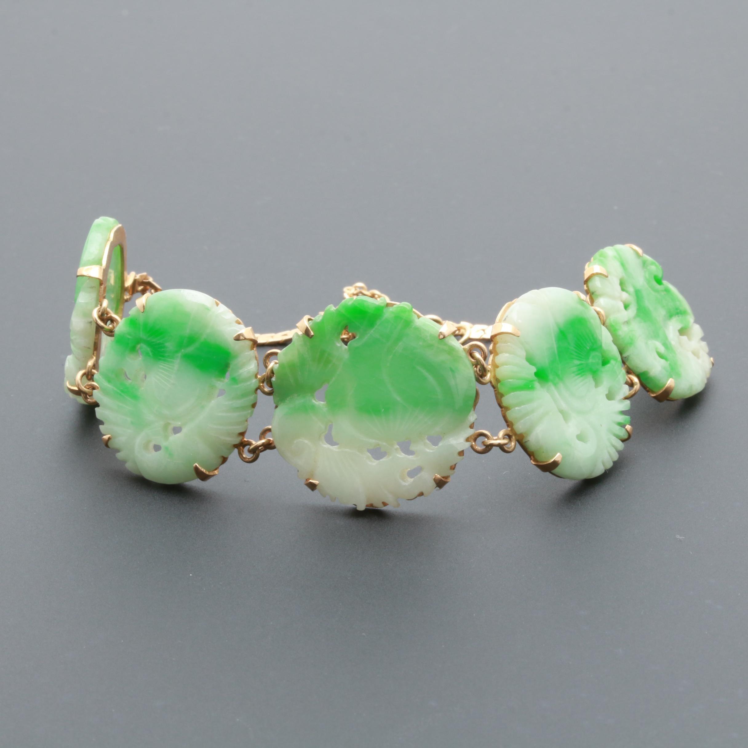 Asian Inspired 14K Yellow Gold Jadeite Bracelet