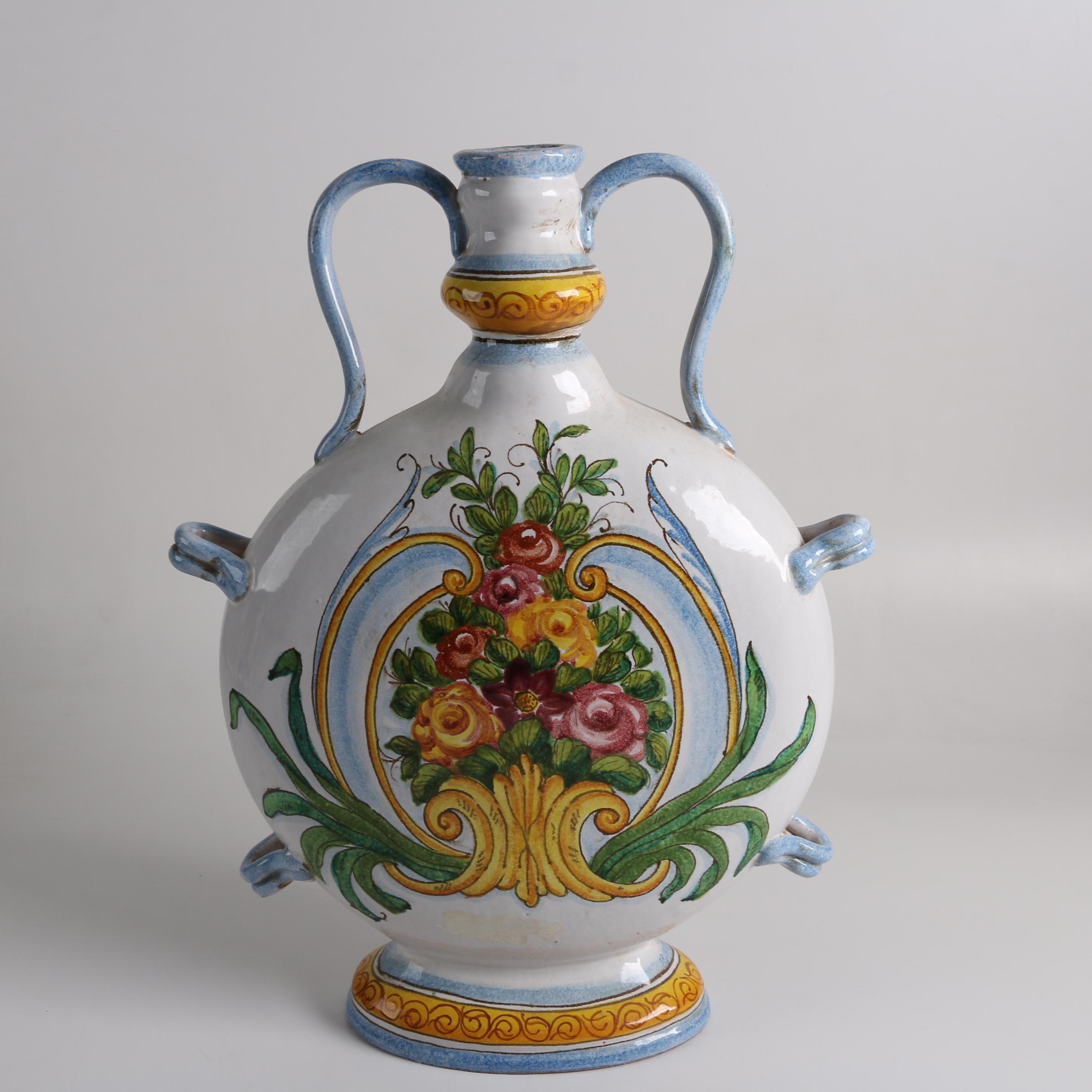 Large Hand-Painted Italianate Earthenware Vase