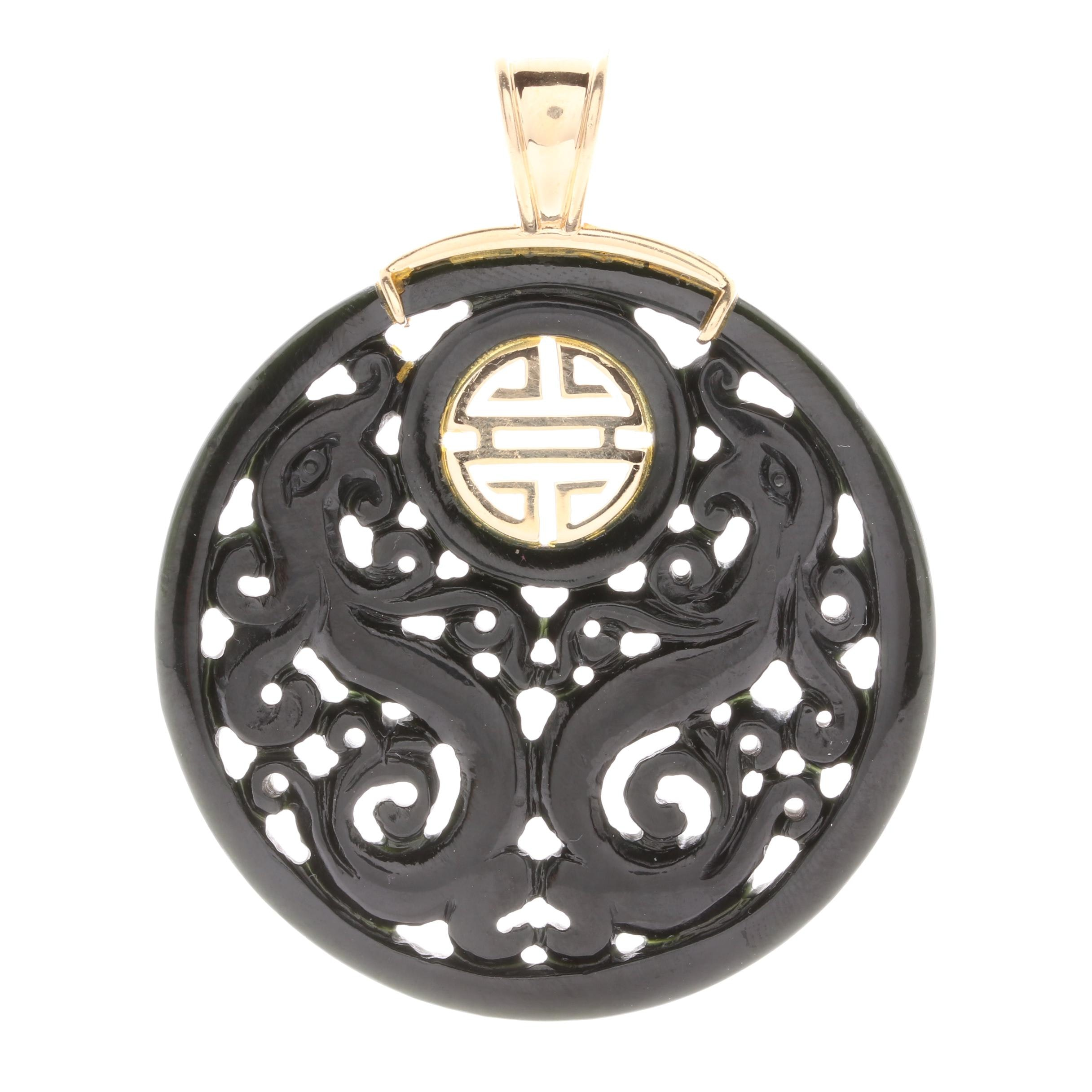 14K Yellow Gold Carved Nephrite Asian Inspired Pendant