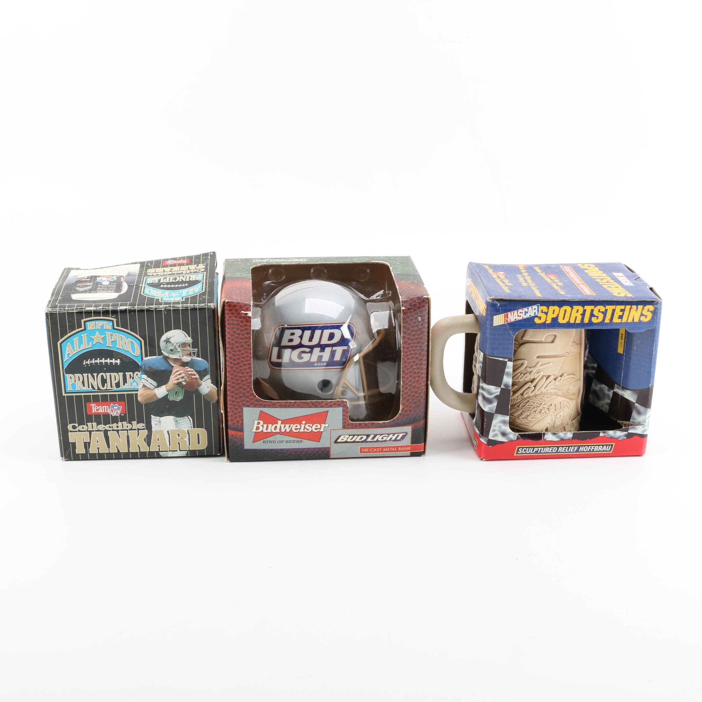 NFL and NASCAR Tankards with Bud Light Coin Bank