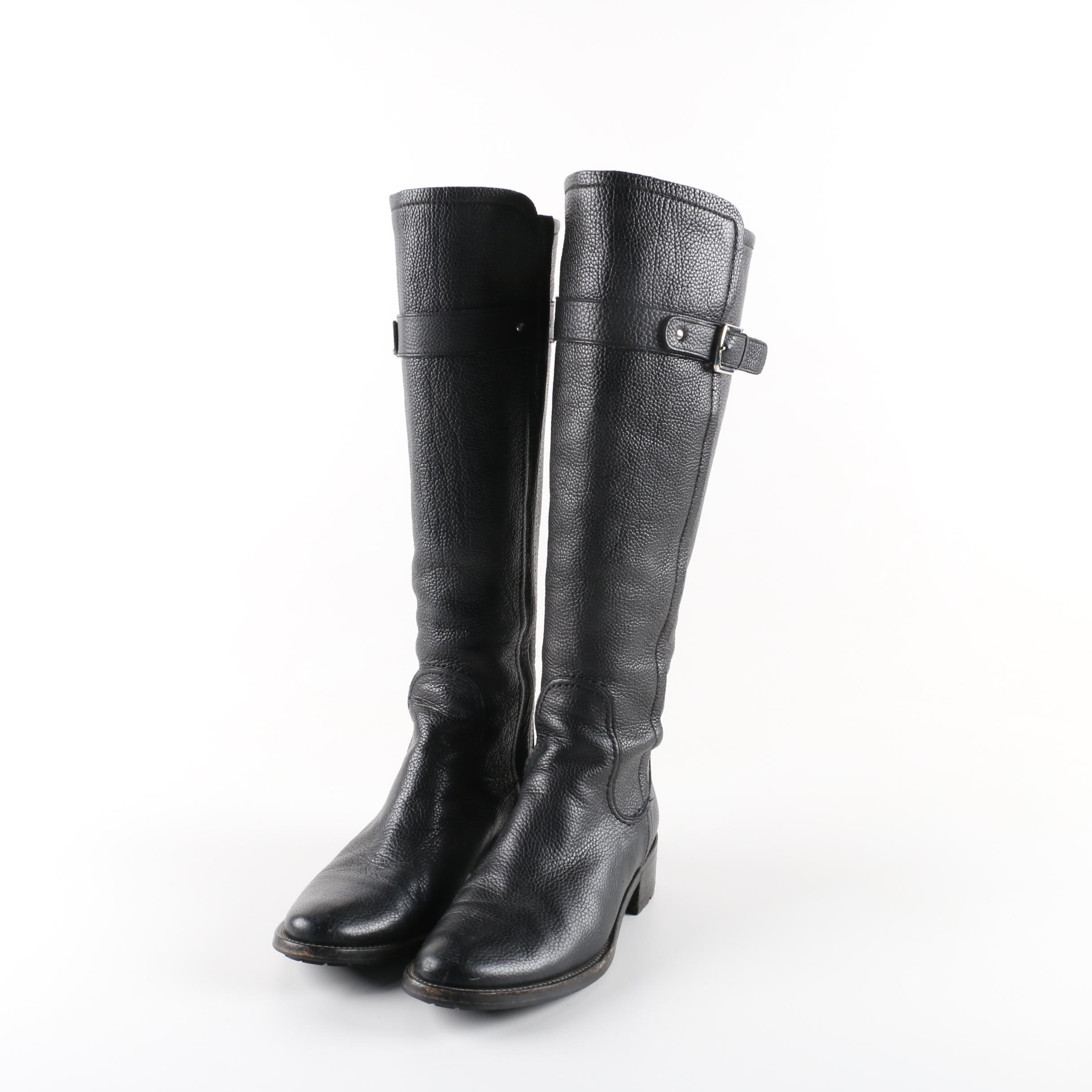 Women's Cole Haan Black Pebbled Leather Knee-High Boots
