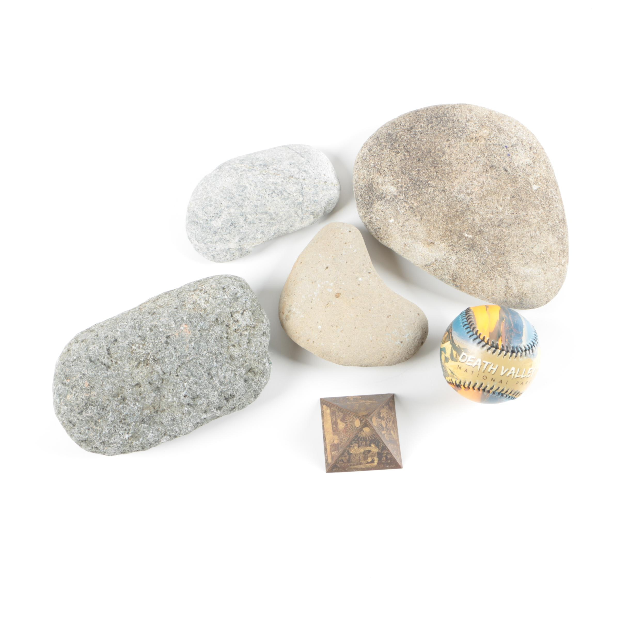 Rock Specimens, Baseball and Pyramid Paperweight