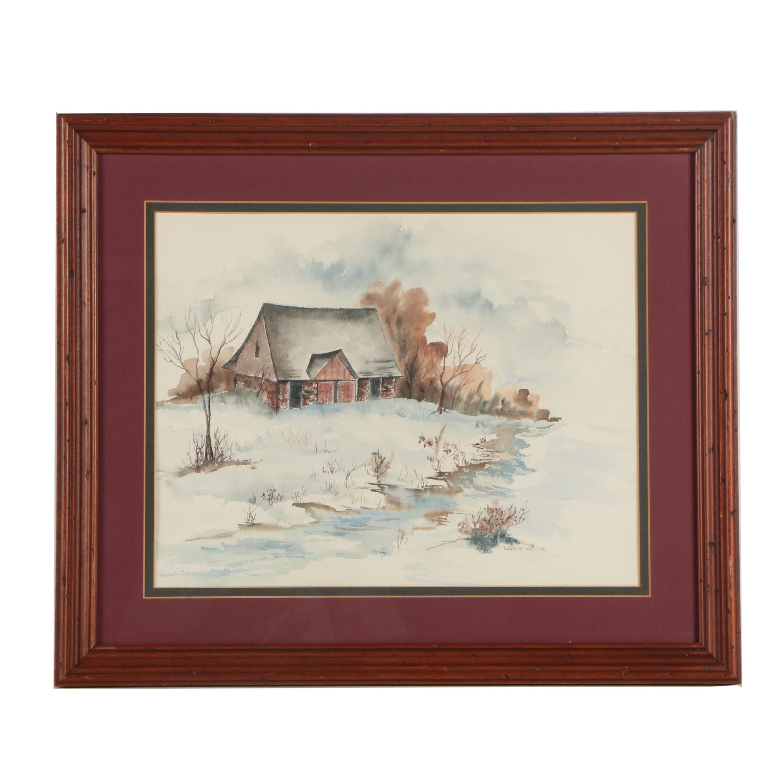 Laurie Messer Signed Watercolor Painting of Barn in Winter