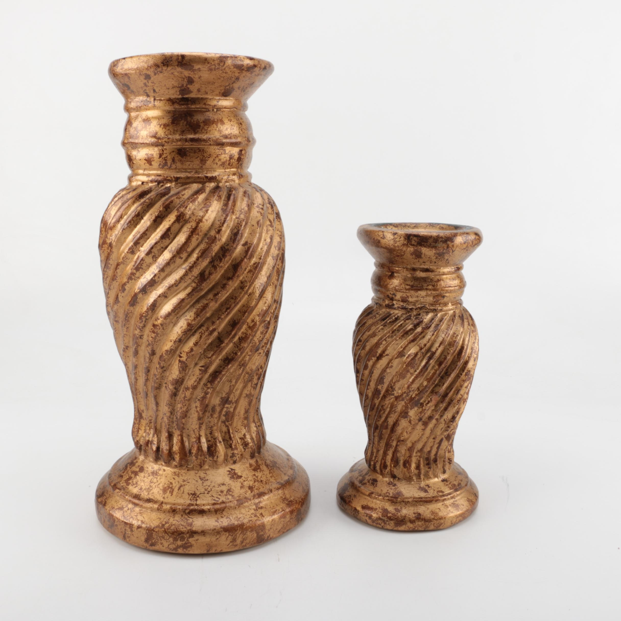 Two Pedestal Pillar Style Candle Holders