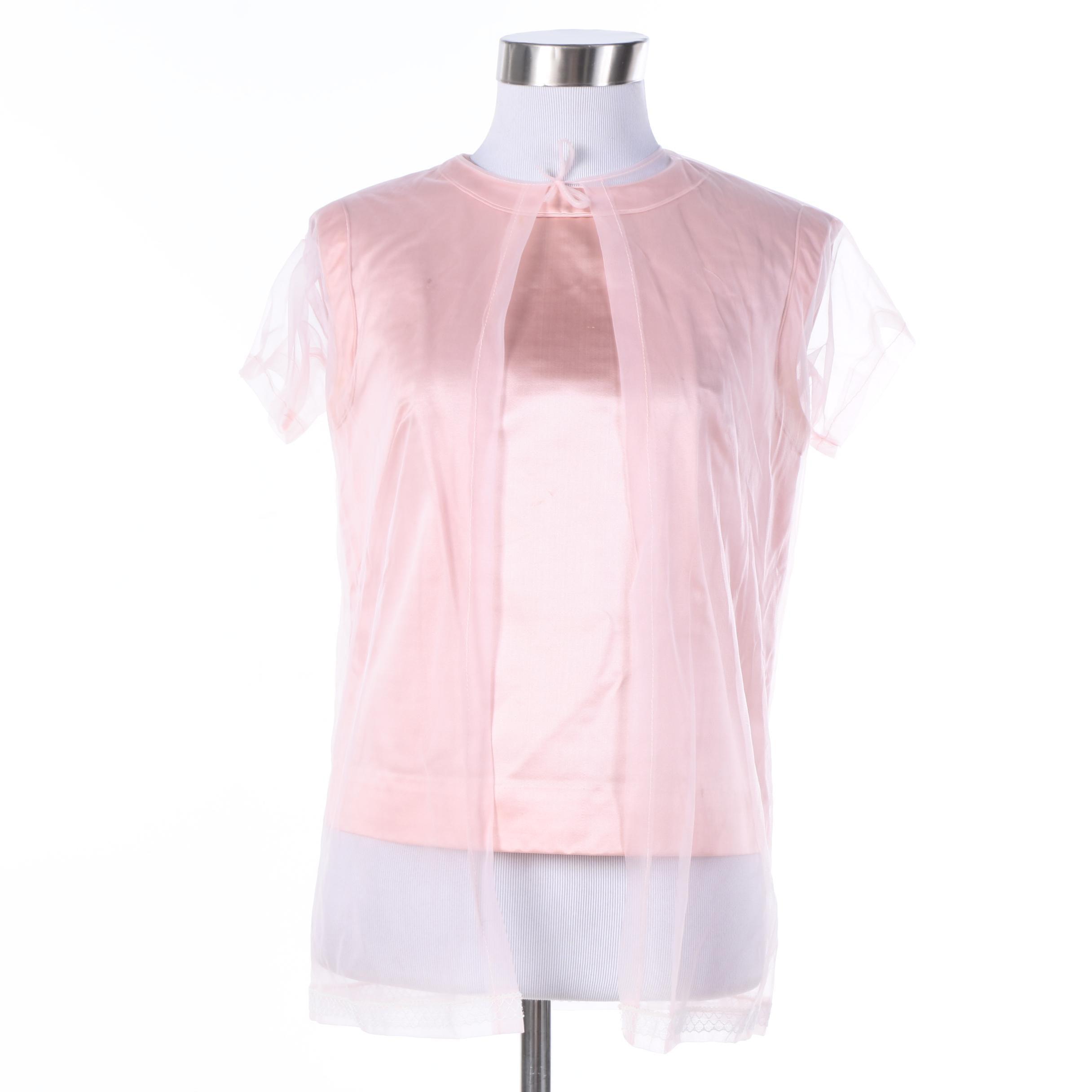 Circa 1960s Vintage Royal Lynne Pink Satin Shirt and Nylon Jacket
