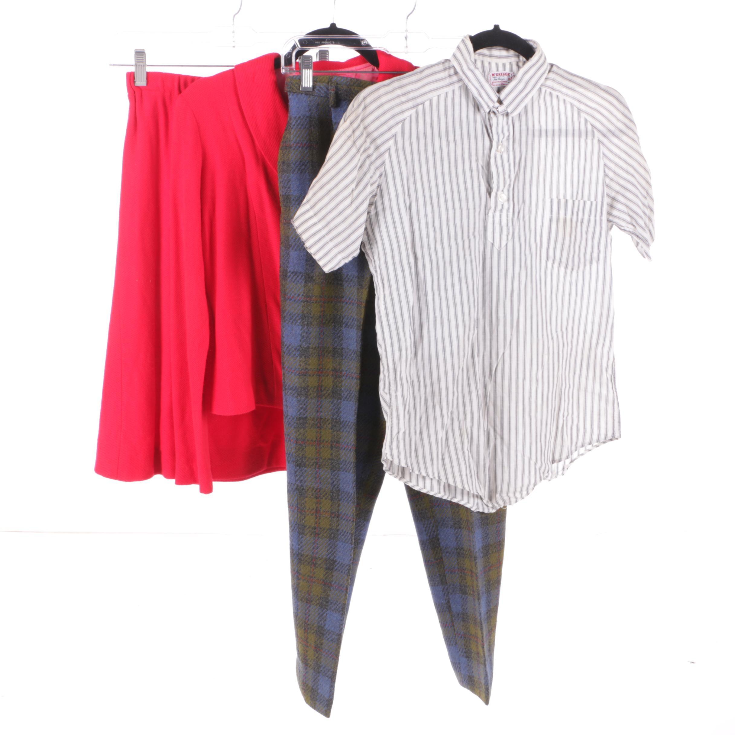 Women's Vintage Skirt Suit, Plaid Pants and Boys' McGregor Top