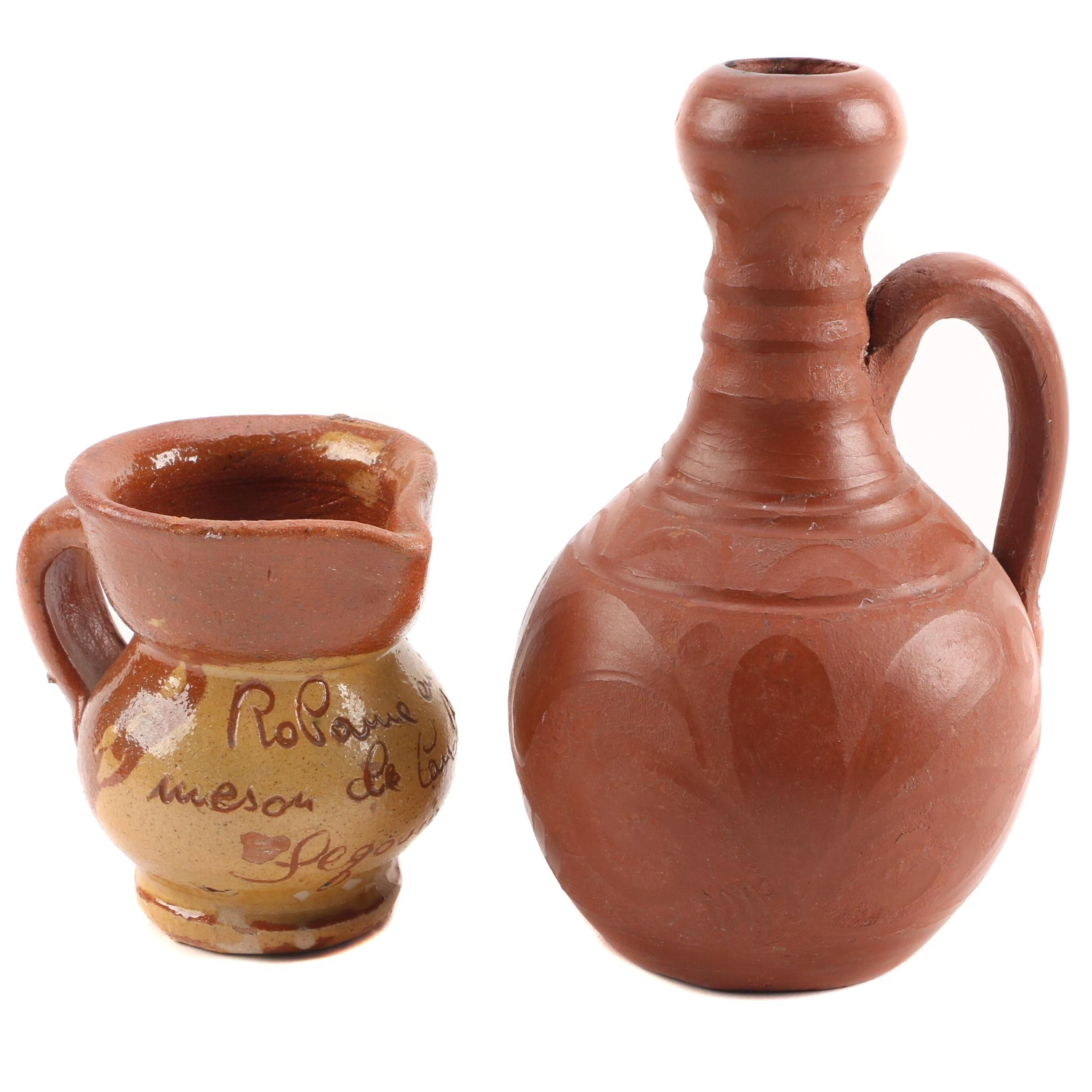 Vintage Earthenware Ewer and Pitcher