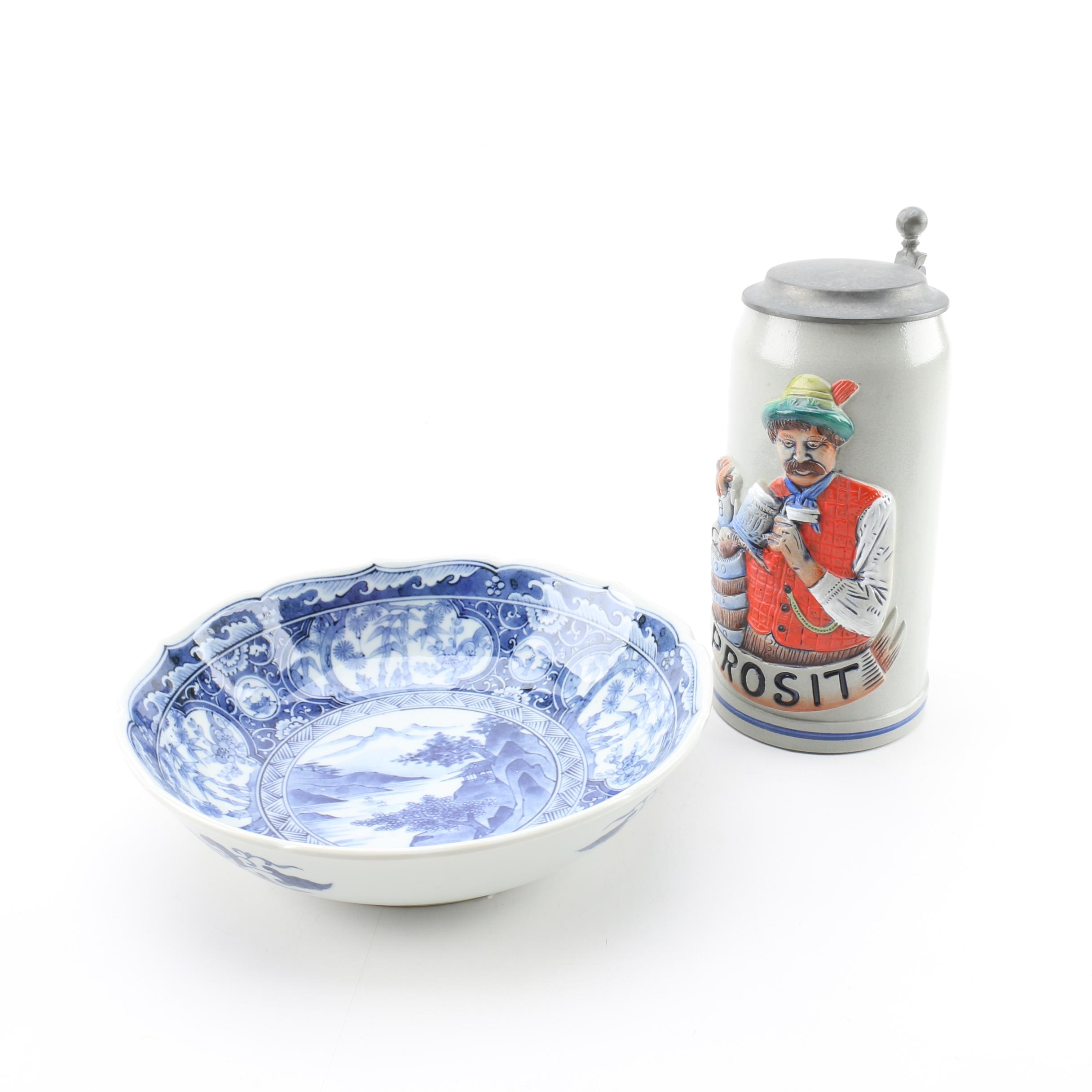 Ceramic Beer Stein and Blue and Japanese Blue and White Transferware Bowl