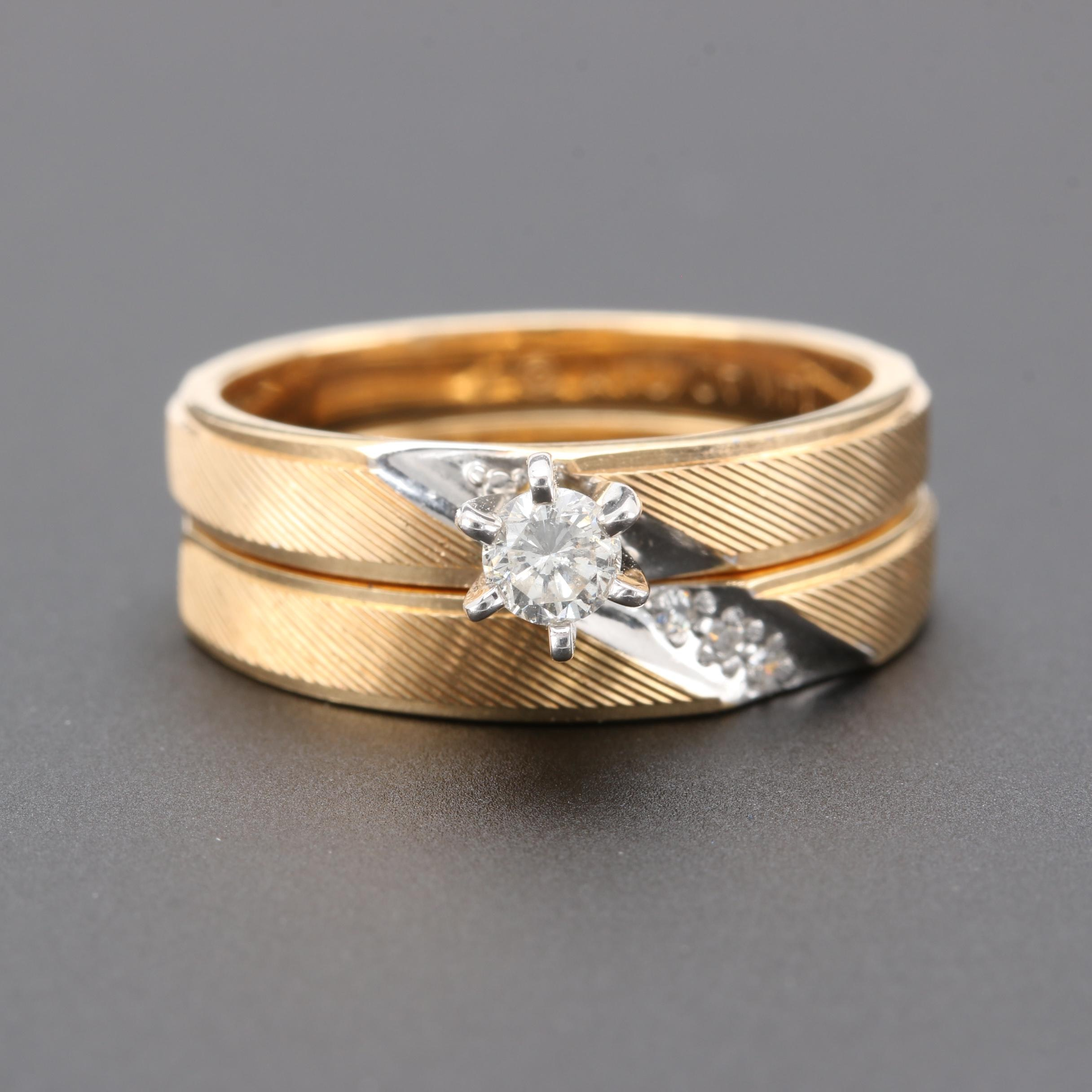 14K Yellow Diamond Ring Set