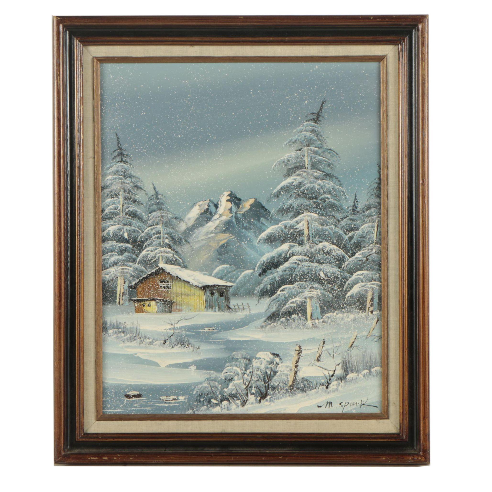 M. Spark Oil Painting of Winter Landscape