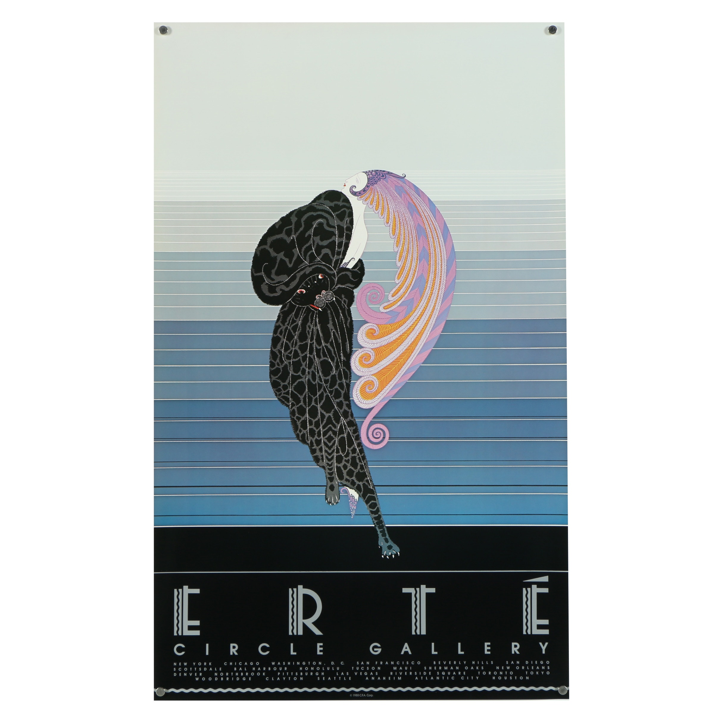 "Offset Lithograph Exhibition Poster After Erté ""Beauty and the Beast"""