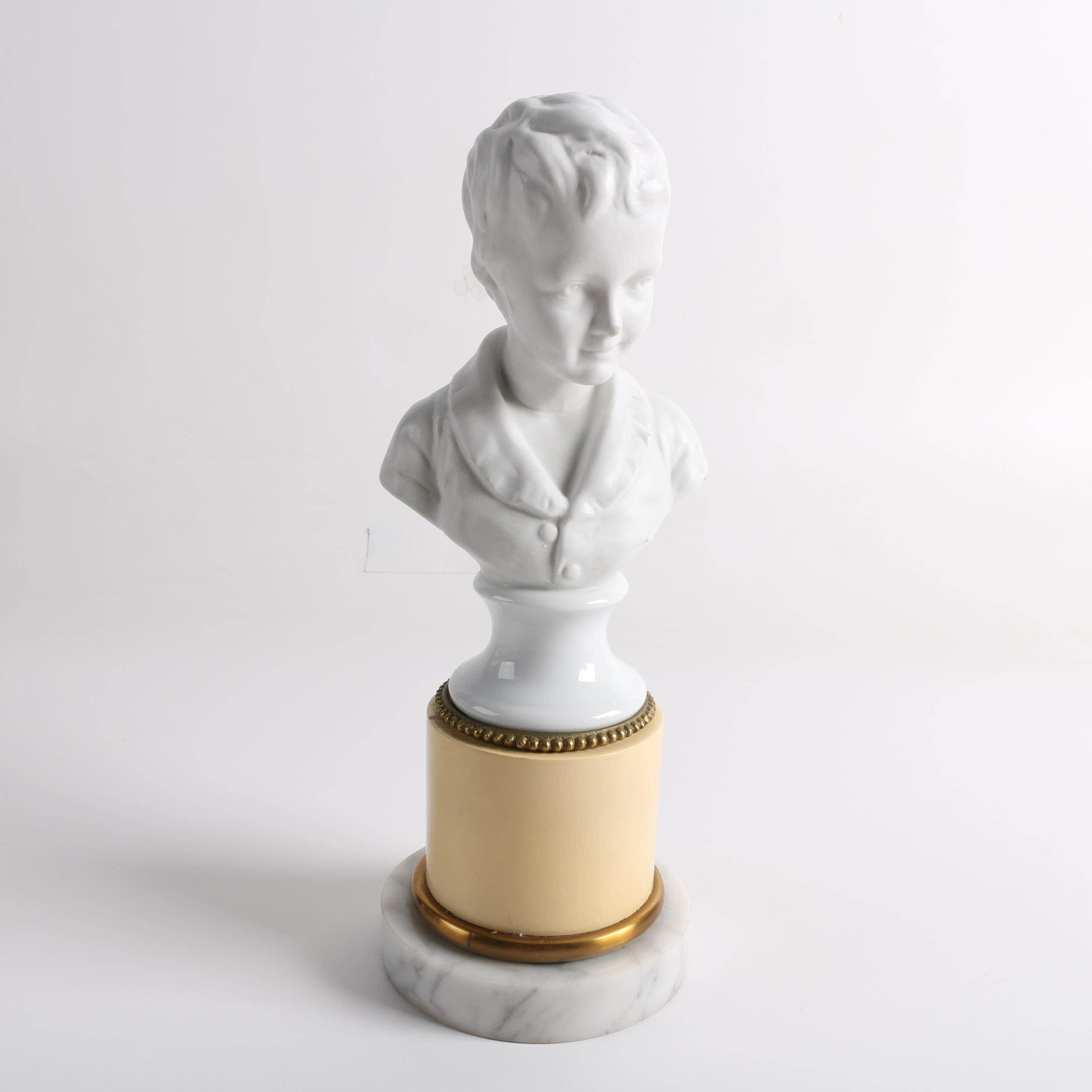 Ceramic Bust with Marble Base