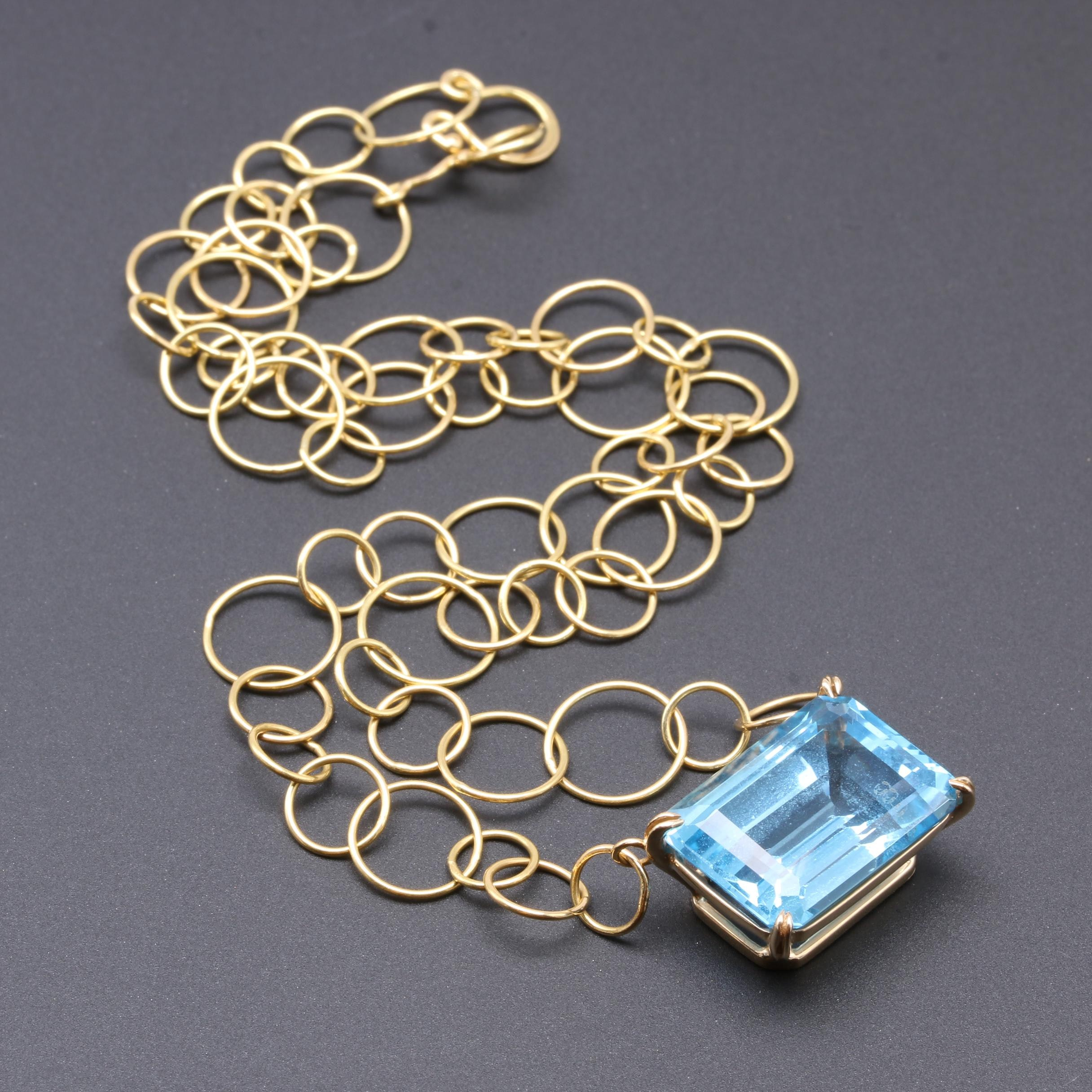 14K and 18K Yellow Gold 19.44 CT Blue Topaz Pendant Necklace