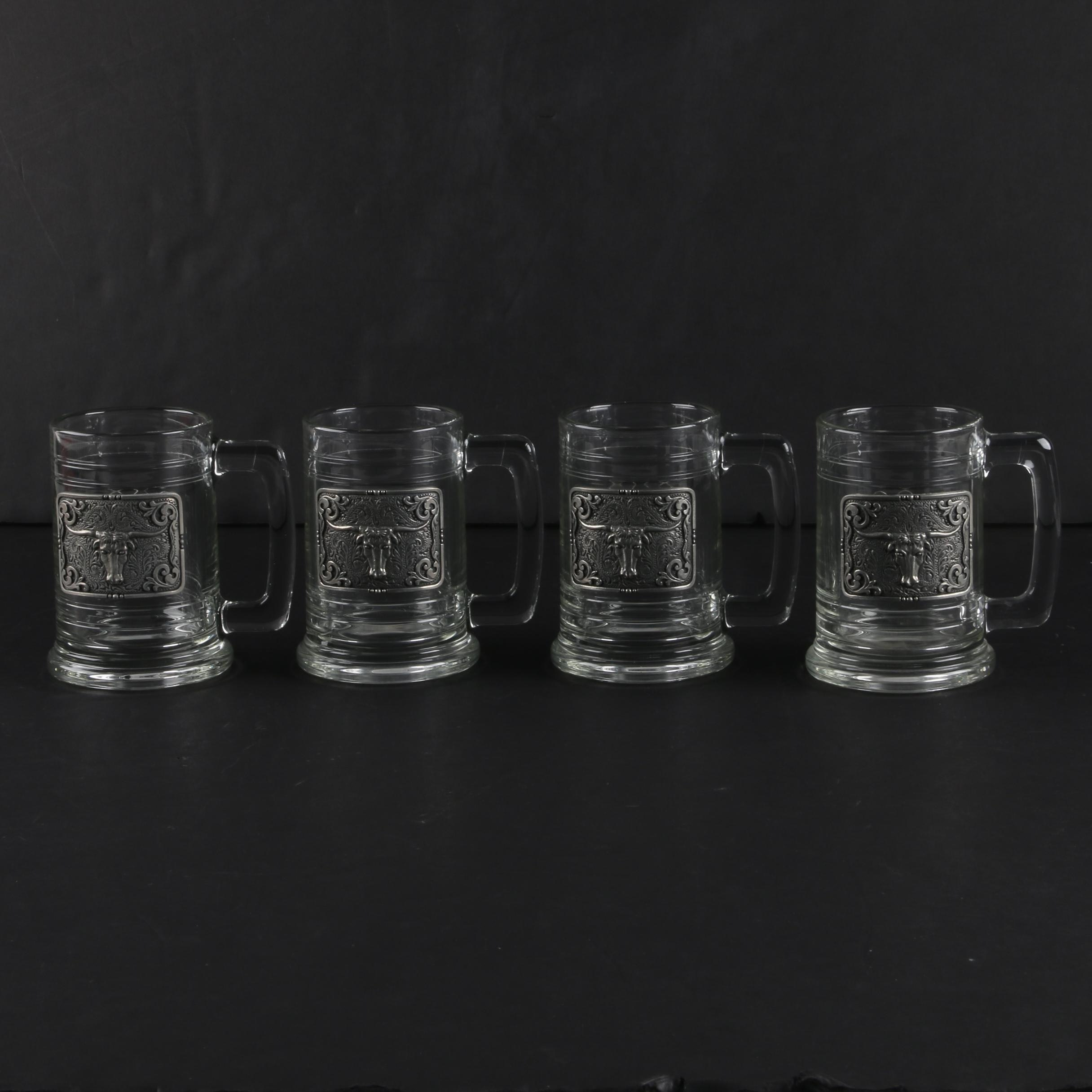 Glass Beer Mugs with Pewter Bull Panels