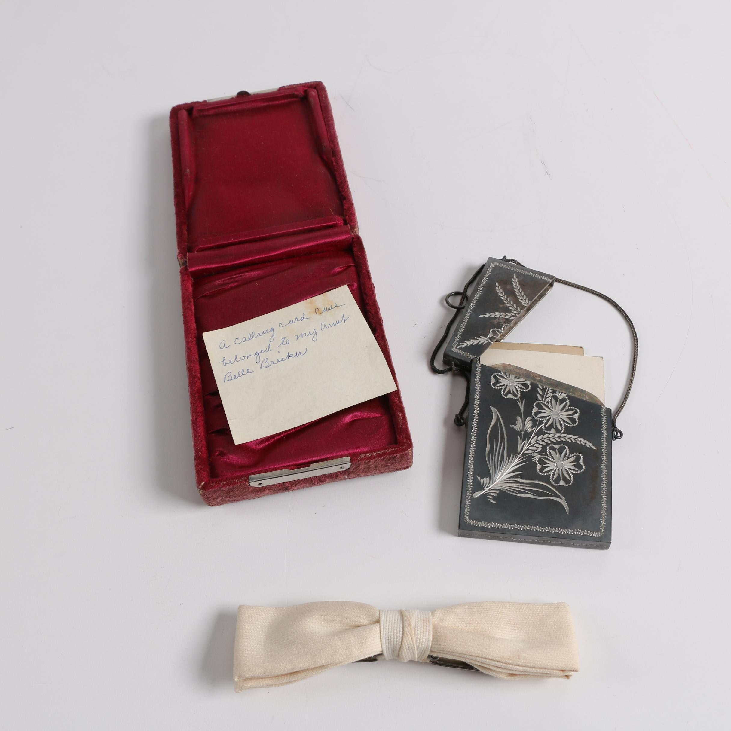 Vintage Calling Card Cases and Best Clip Bow Tie