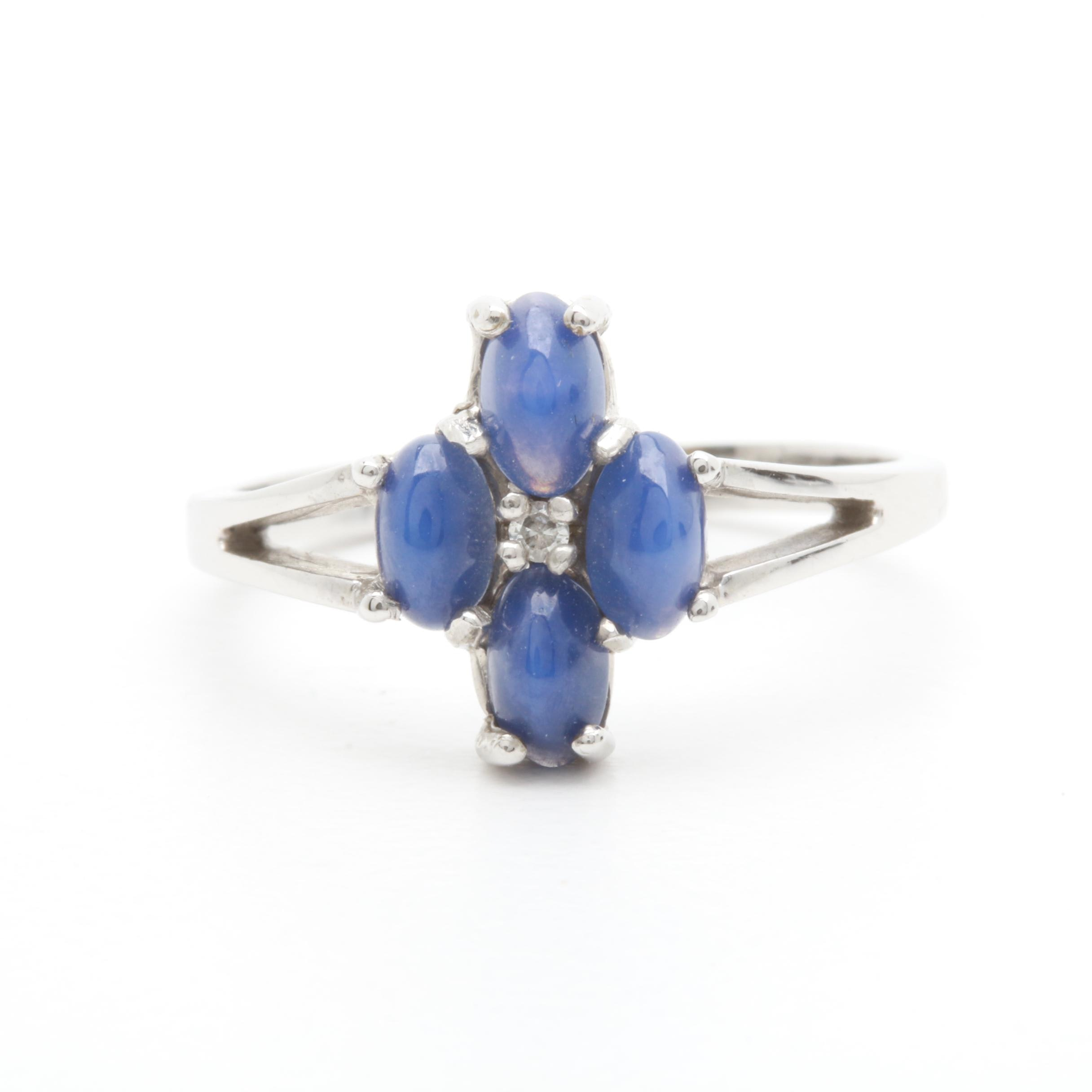 10K White Gold Diamond and Synthetic Star Sapphire Ring