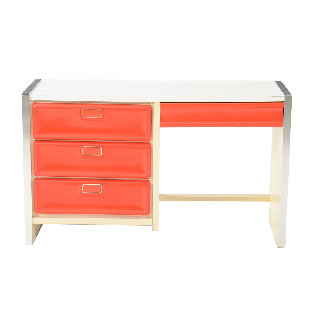 Red Plastic and White Laminate Student Desk