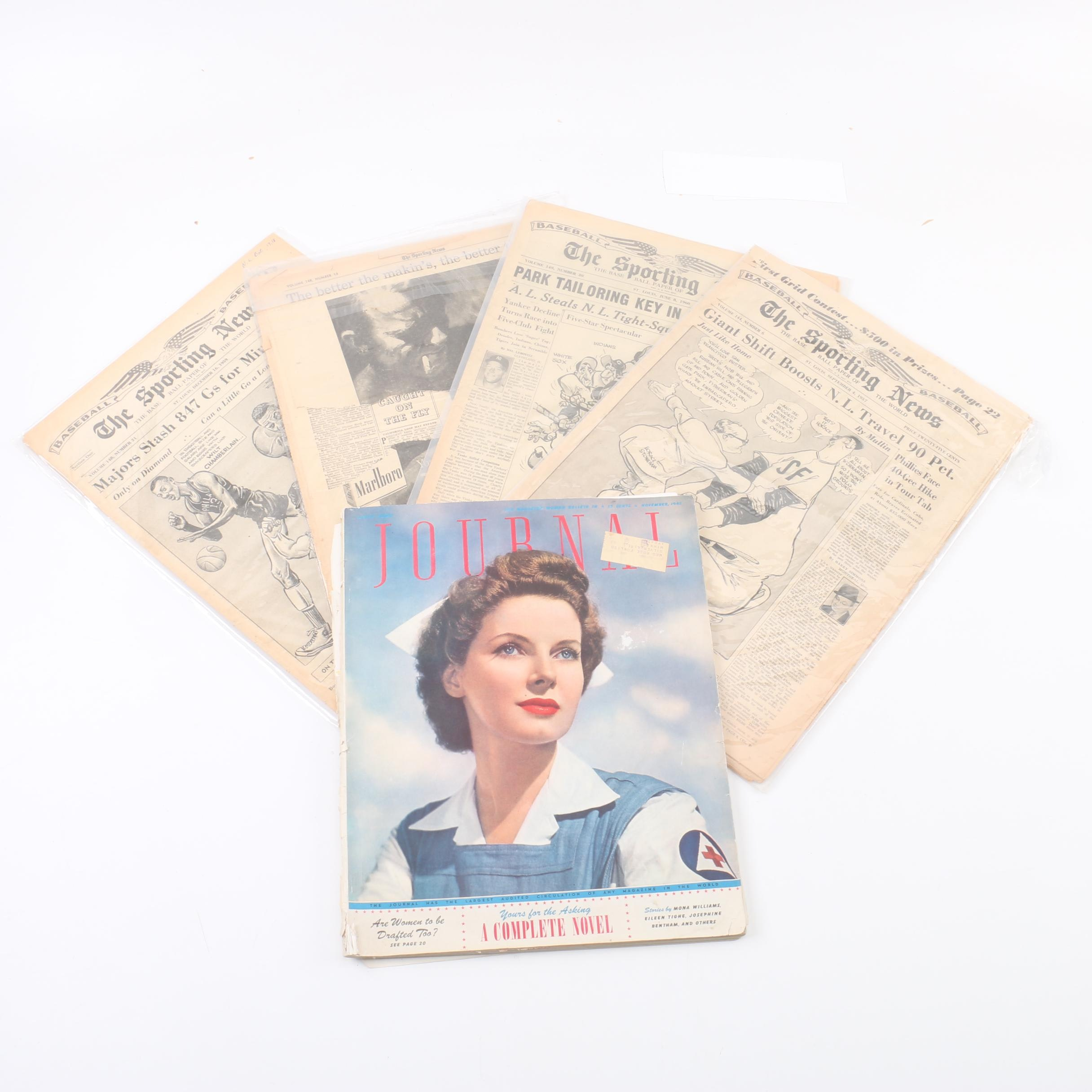 """1942 """"Ladies' Home Journal"""" and Issues of """"The Sporting News"""""""