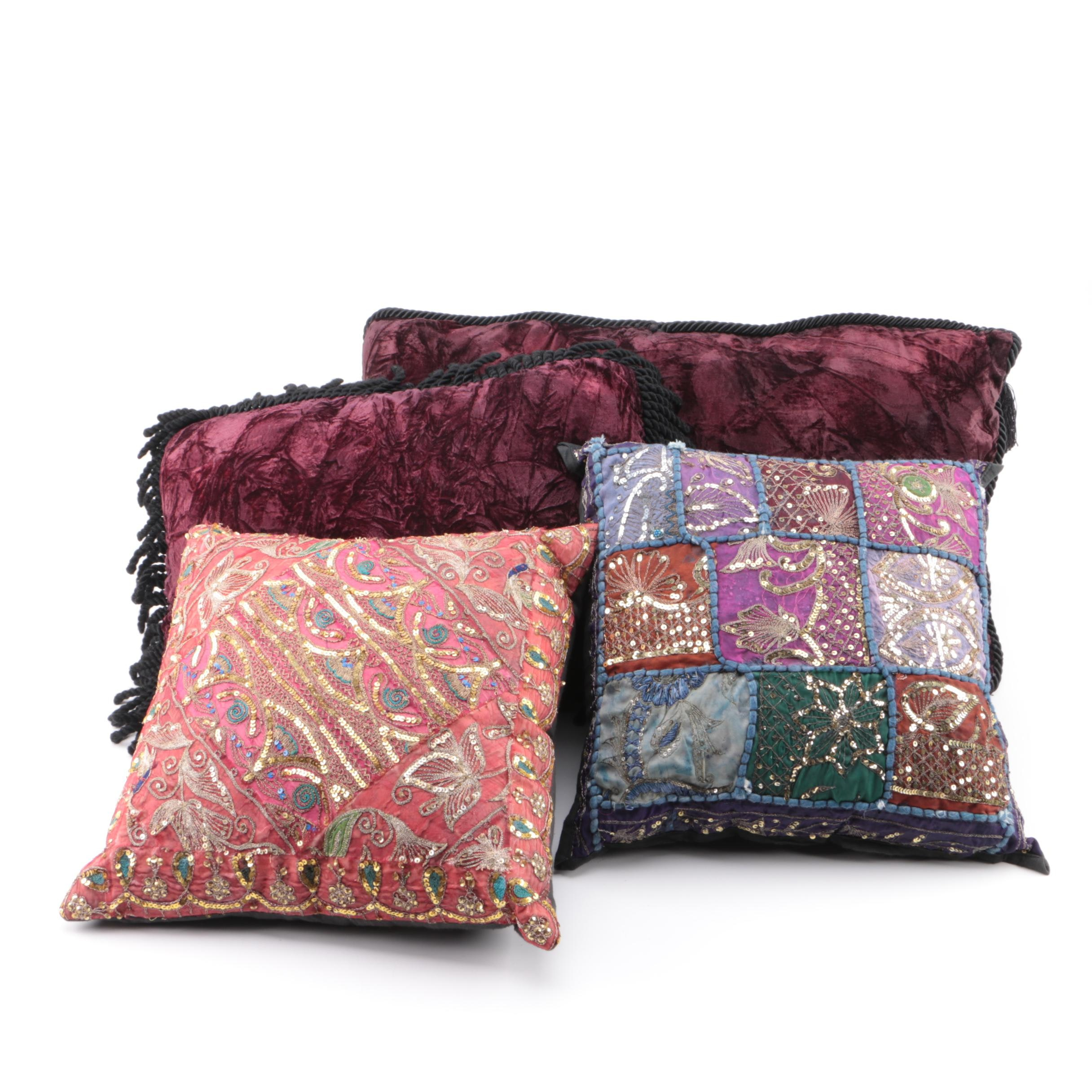 Bouclé and Sequin Embellished Decorative Accent Pillows