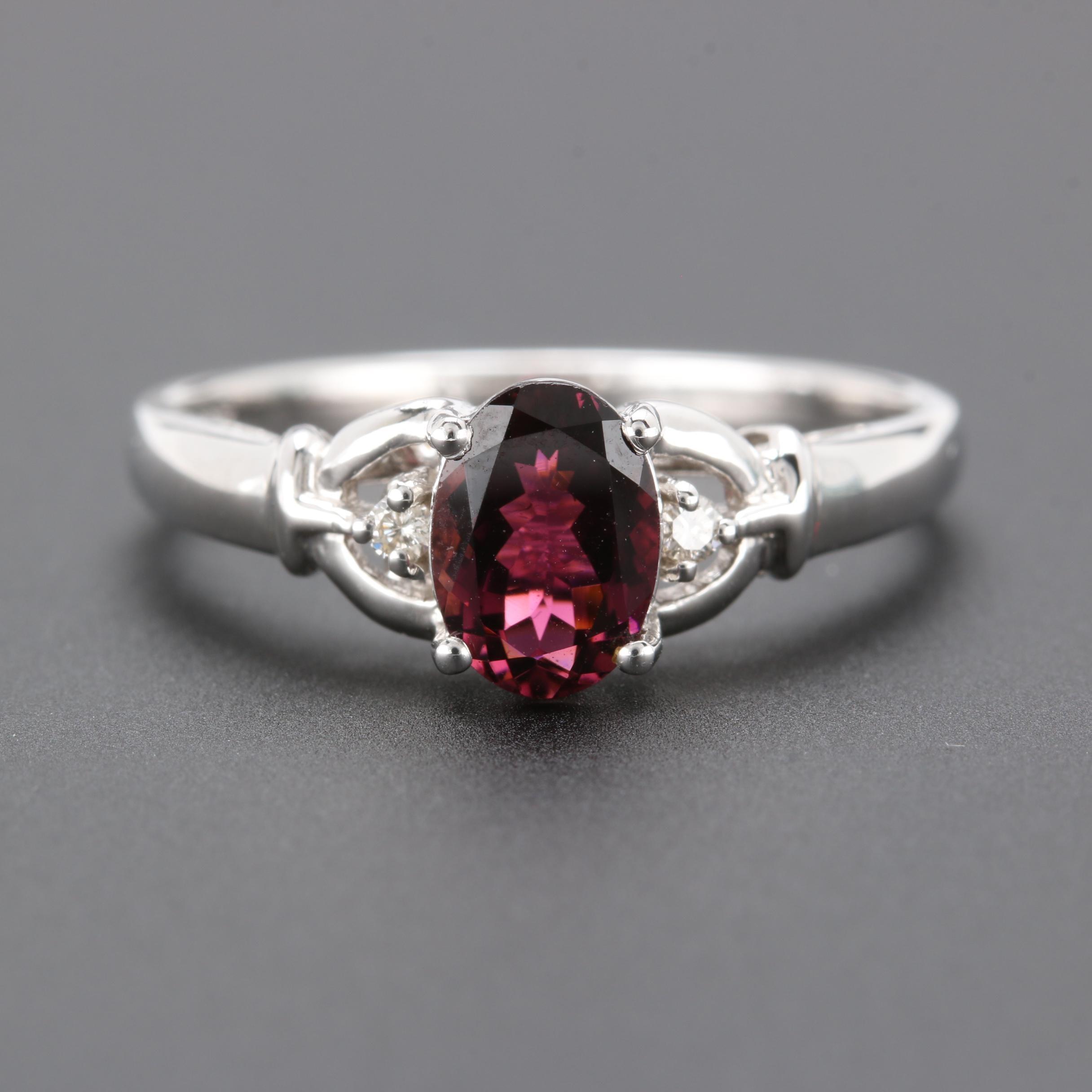 14K White Gold Rhodolite Garnet and Diamond Ring