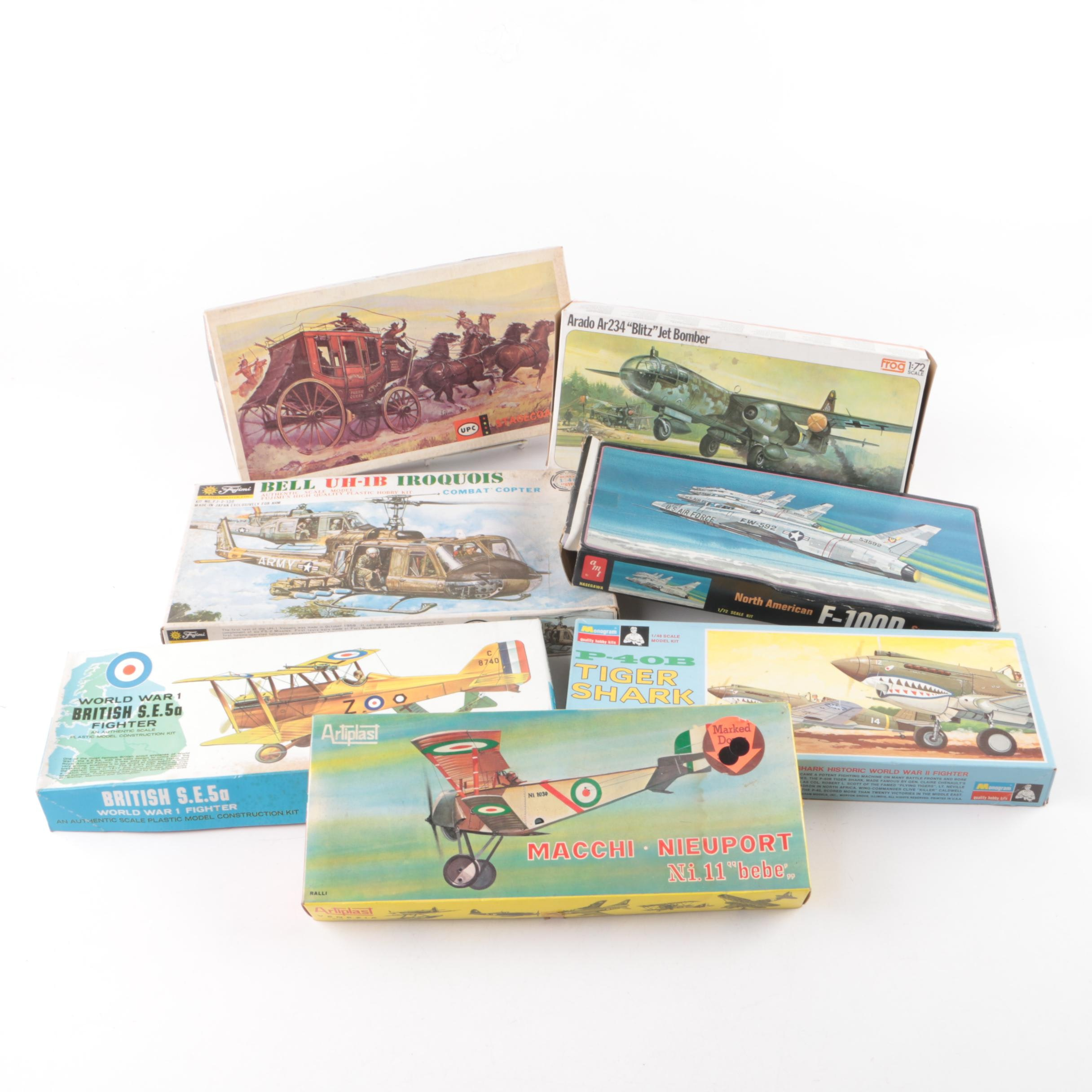 Vintage Military Aircraft and Stagecoach Model Kits