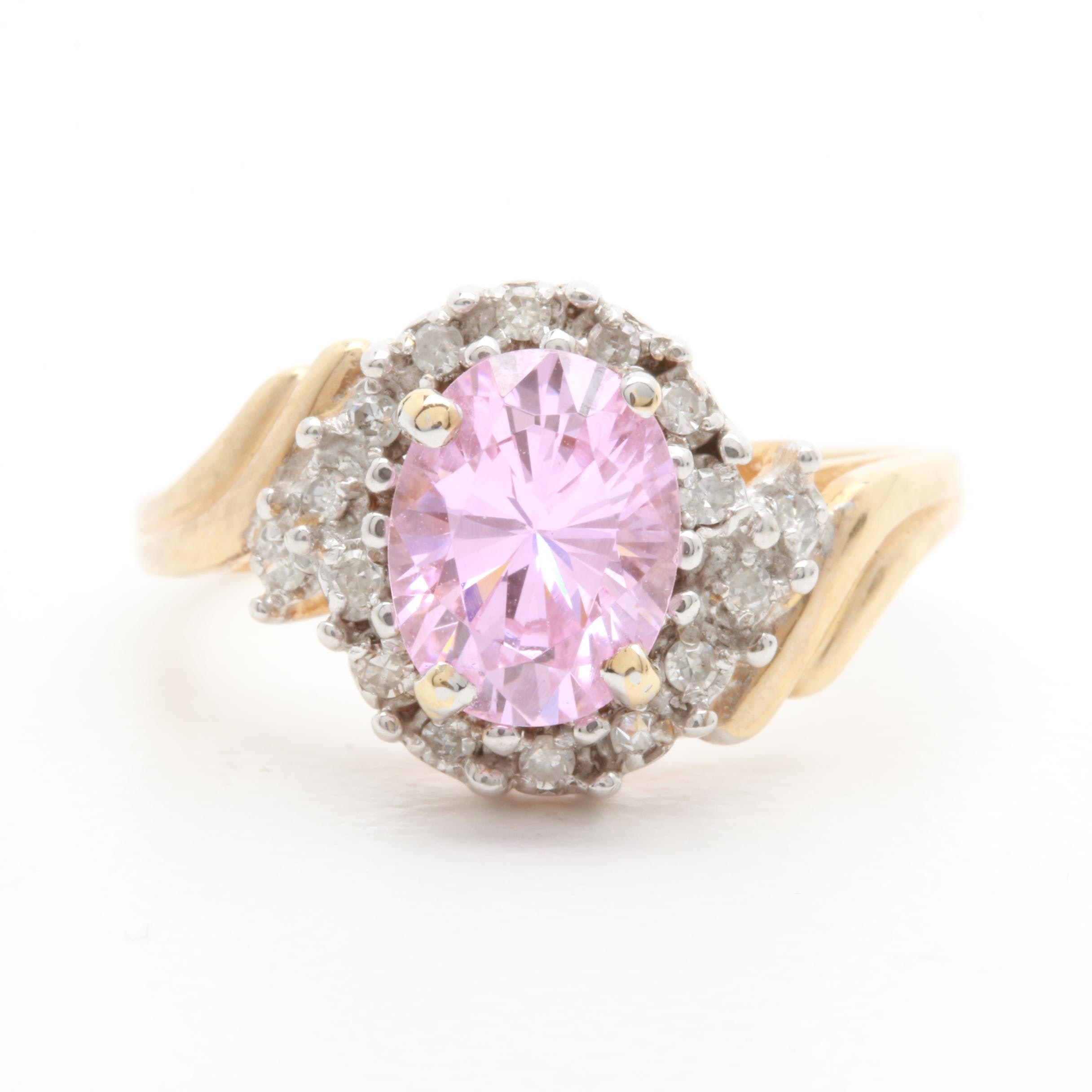 10K Yellow Gold Pink Cubic Zirconia and Diamond Ring
