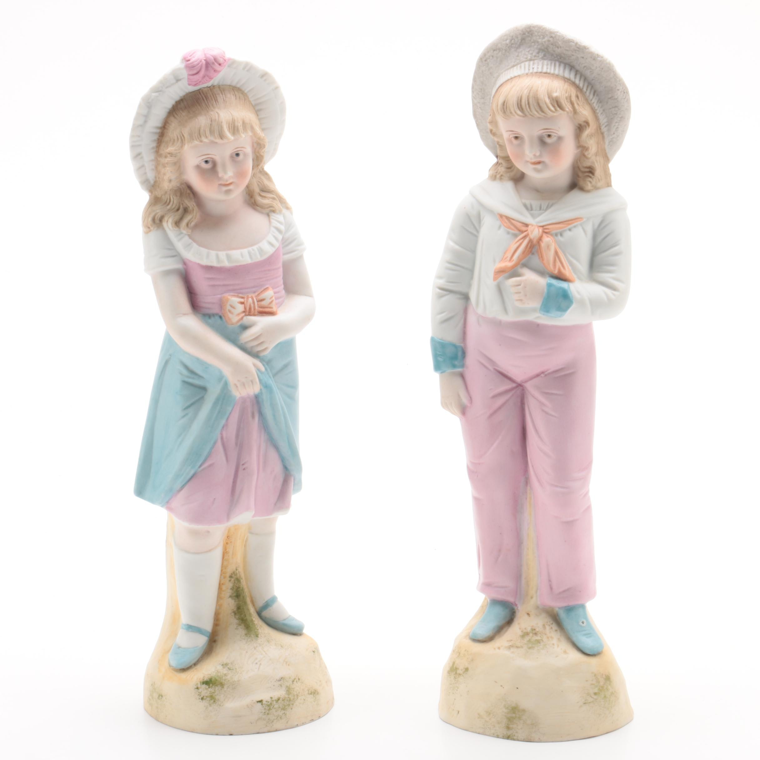 Vintage Hand-Painted Boy and Girl Porcelain Figurines