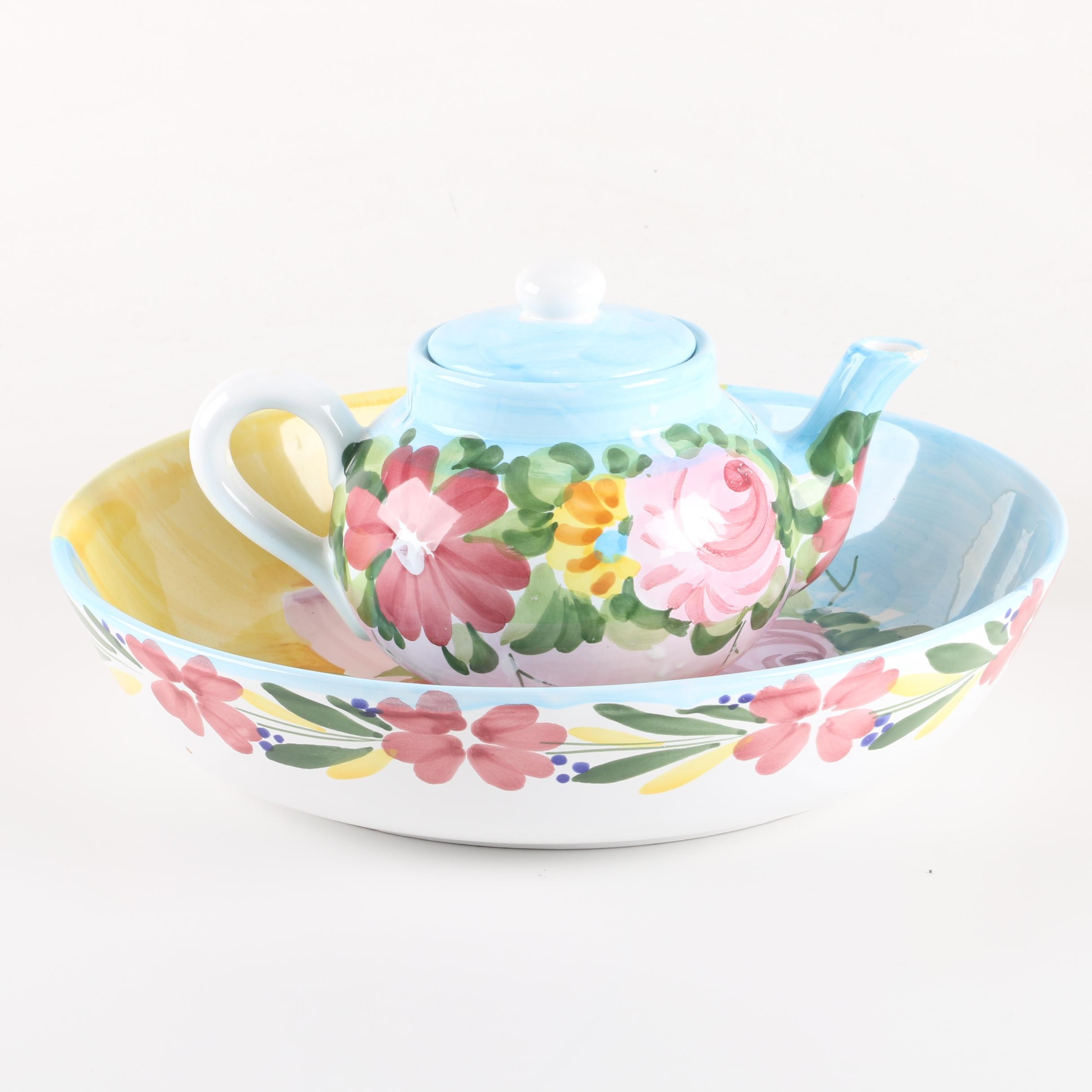 The Cellar Floral Themed Teapot and Bowl