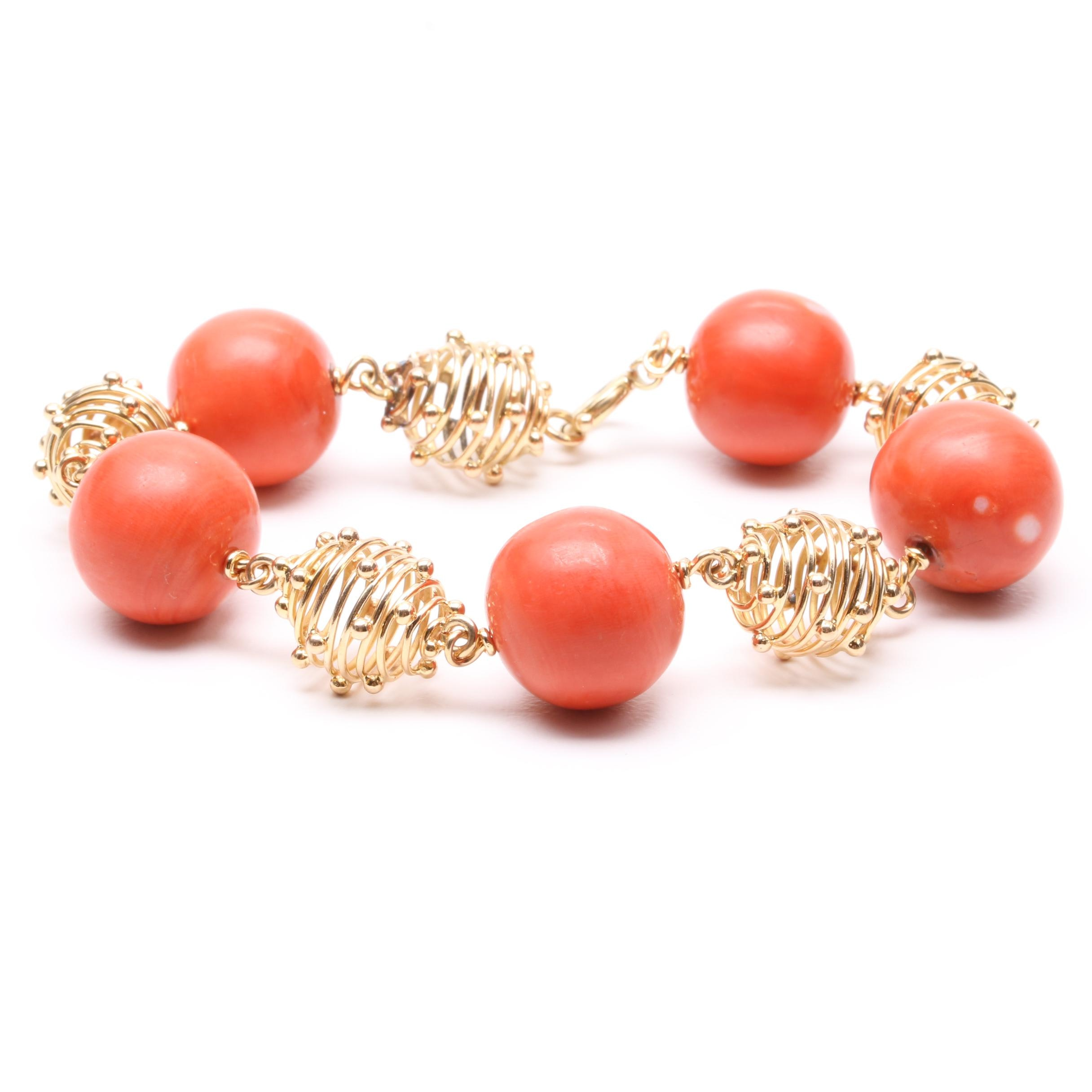 Vintage Austrian 18K Yellow Gold Coral Bracelet with 14K Findings