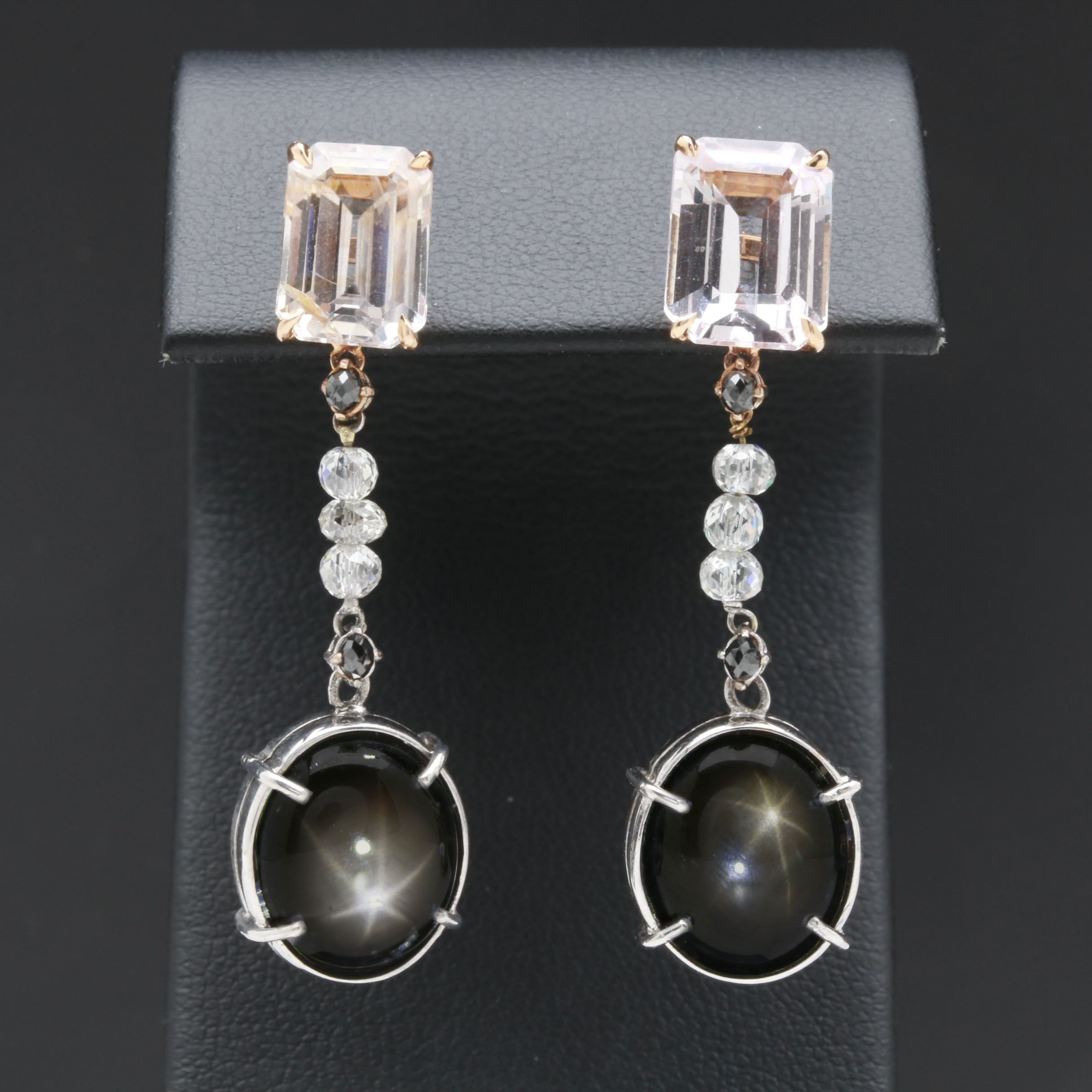 18K and 10K White and Yellow Gold Gemstone Earrings