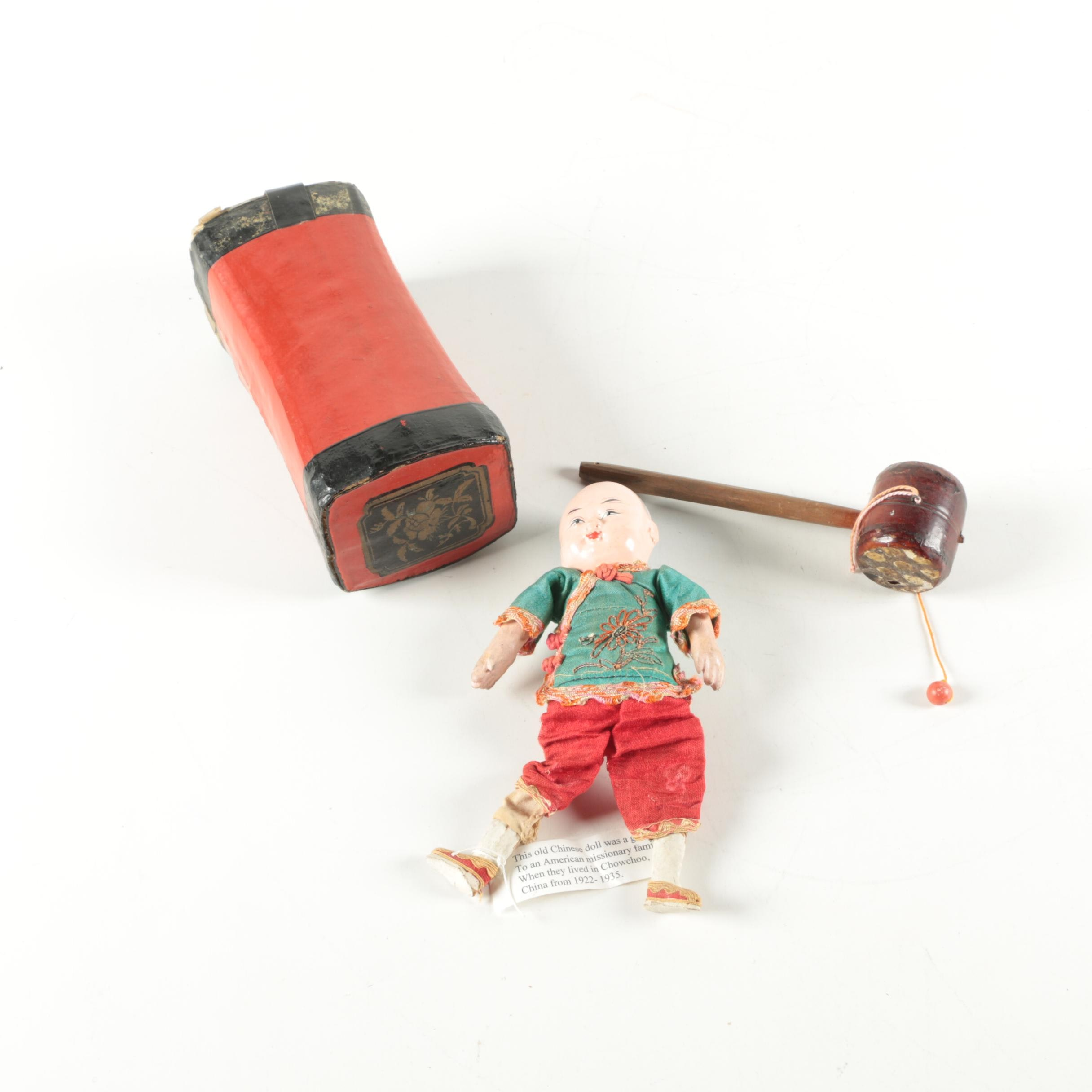 1920s Chinese Souvenir Doll, Pillow and Game