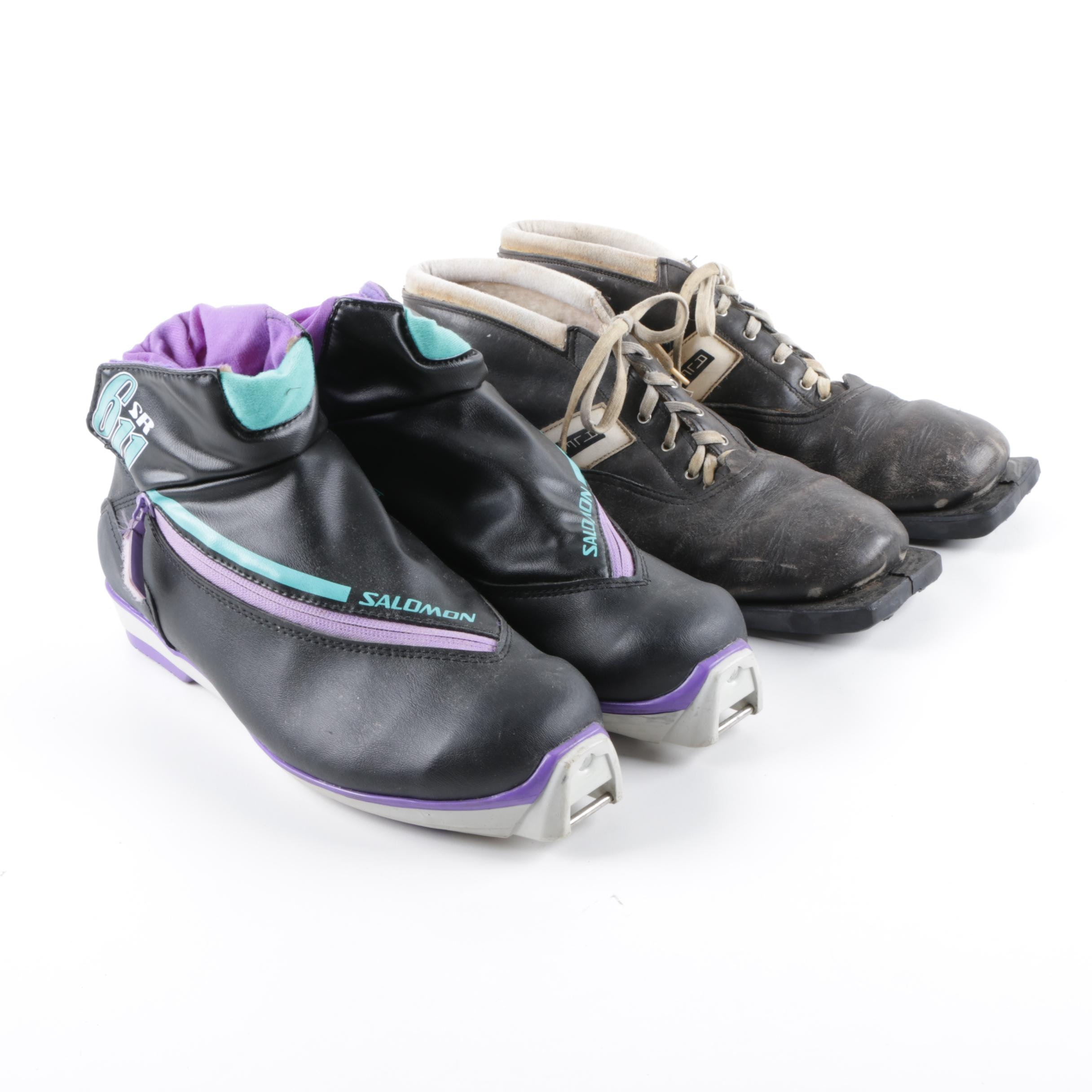 Salomon SNS Profil Cross Country and Vintage Alfa Cross Country Ski Boots